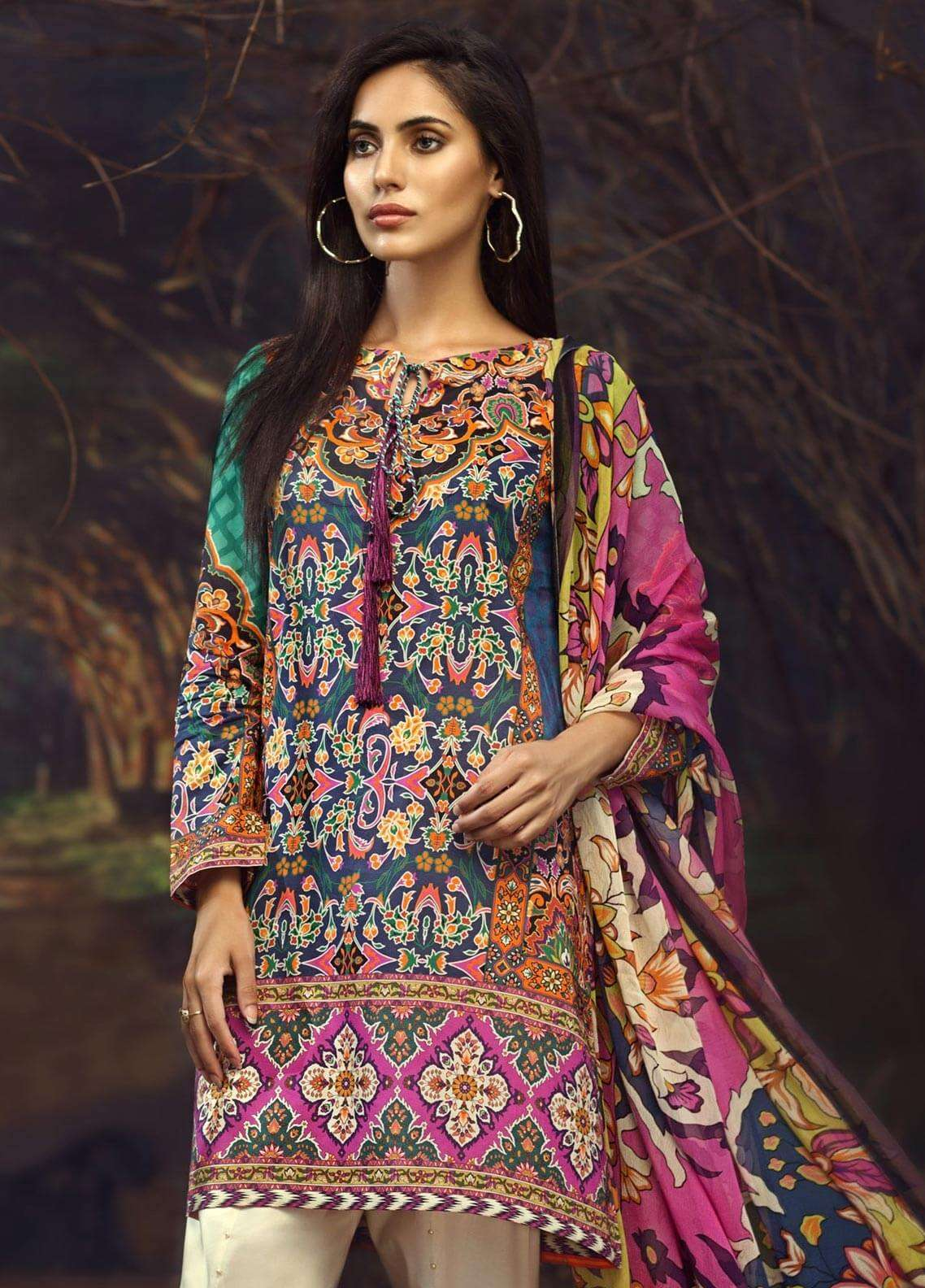 LimeLight Printed Cambric Unstitched 2 Piece Suit FLORAL YARD (BLUE) - Cambric Collection
