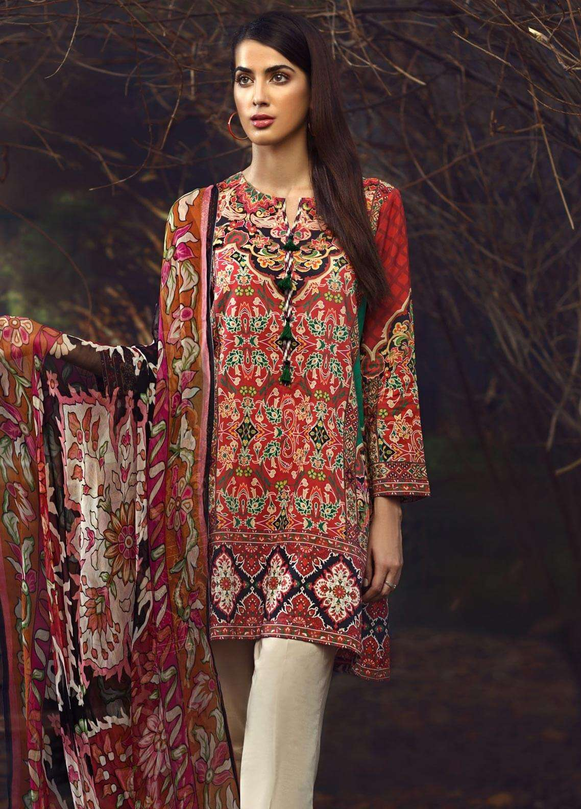 LimeLight Printed Cambric Unstitched 2 Piece Suit FLORAL YARD (RED) - Cambric Collection