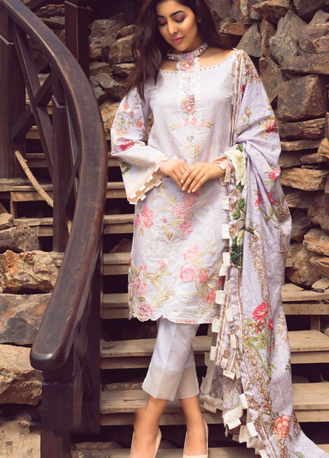 Florence by Rang Rasiya Embroidered Lawn Unstitched 3 Piece Suit FRR19L 8004B - Spring / Summer Collection