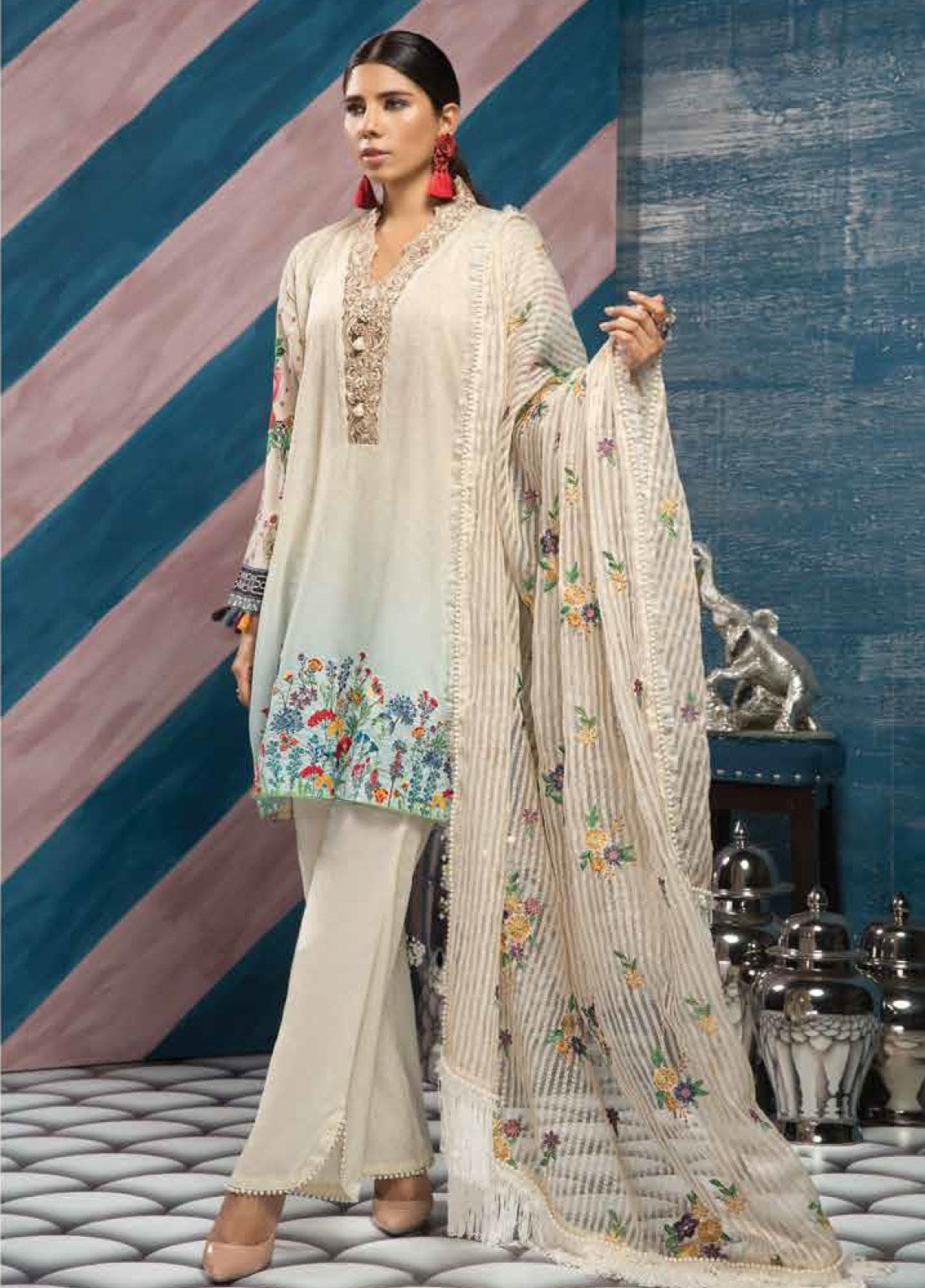 Florent Embroidered Lawn Unstitched 3 Piece Suit F20LC S2 - Luxury Collection