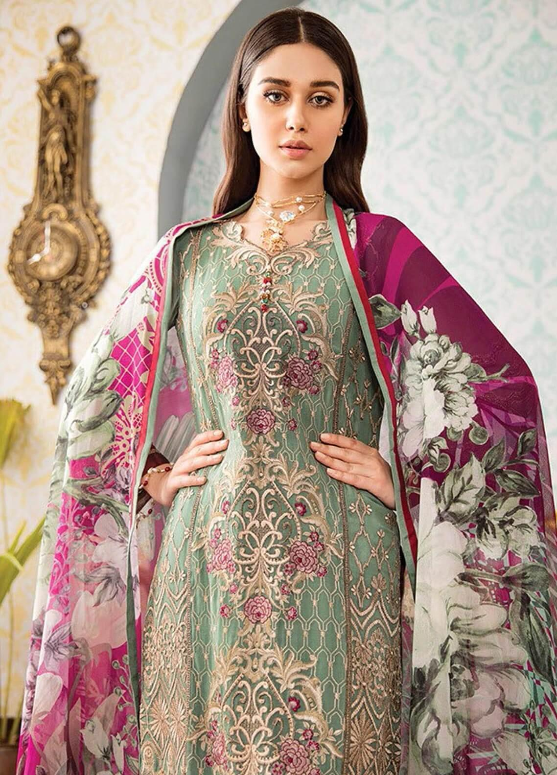 fa104b1f43 Kuch Khas By Flossie Embroidered Chiffon Unstitched 3 Piece Suit FKK19-C4  01 APPLE BLOSSOM - Luxury Collection
