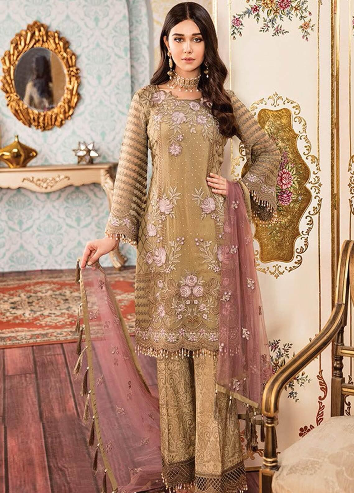 Kuch Khas By Flossie Embroidered Chiffon Unstitched 3 Piece Suit FKK19-C4 03 MUD HONEY - Luxury Collection