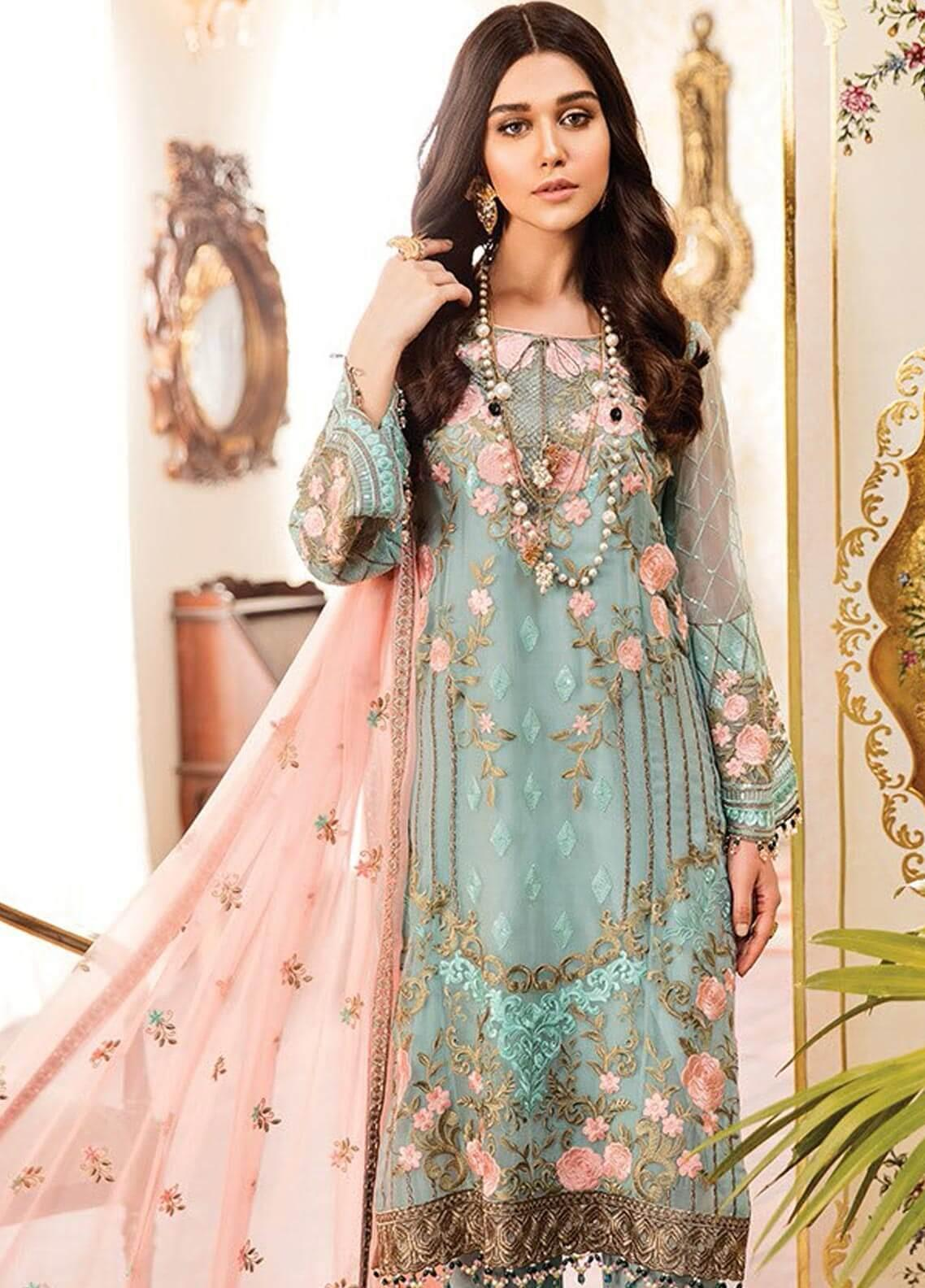 a57c2ea465 Kuch Khas By Flossie Embroidered Chiffon Unstitched 3 Piece Suit FKK19-C4  05 OAK AND PINE - Luxury Collection