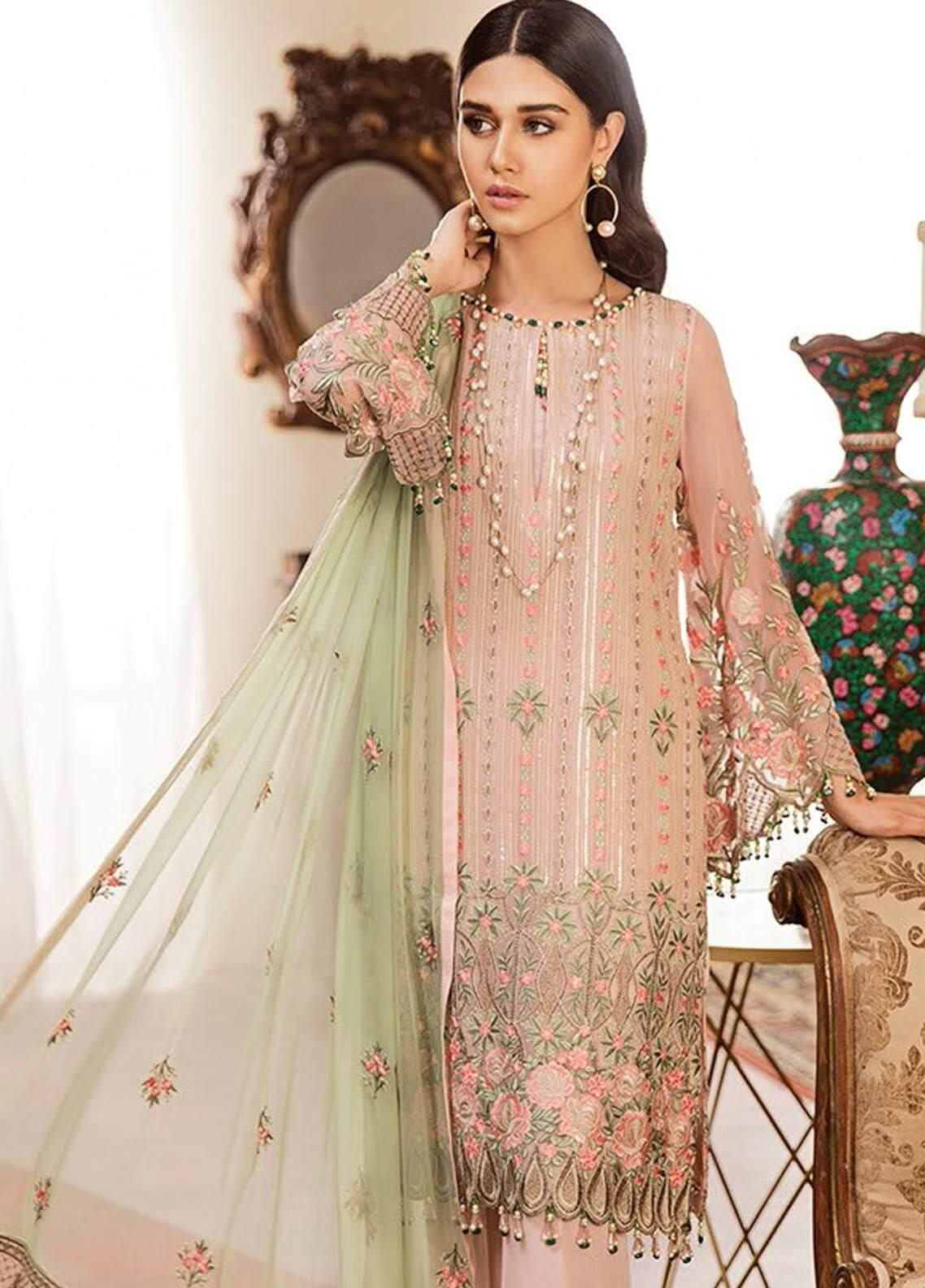 Kuch Khas By Flossie Embroidered Chiffon Unstitched 3 Piece Suit FKK19-C4 08 PRECIOUS SPARKLE - Luxury Collection