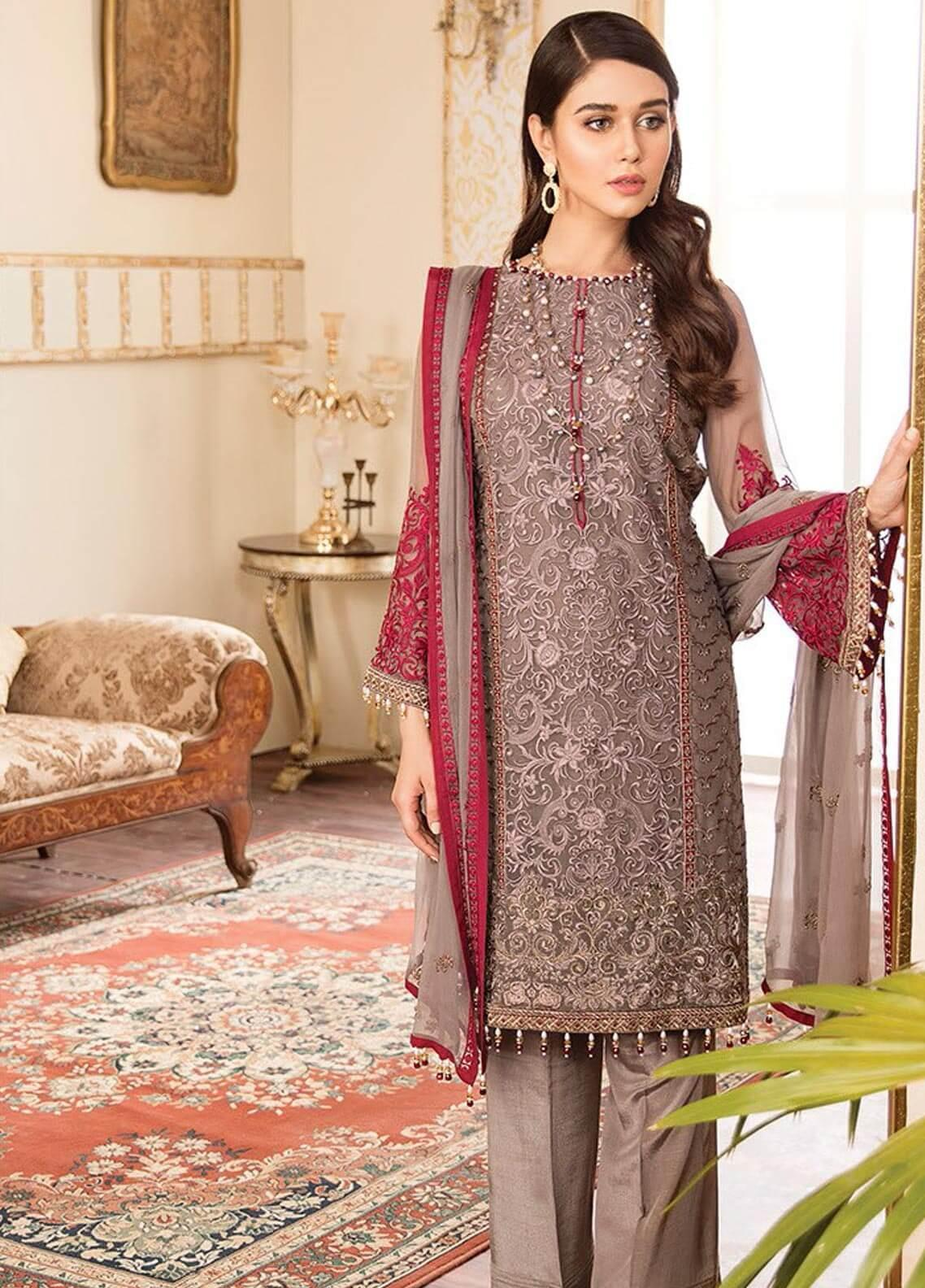 f28c311fdd Kuch Khas By Flossie Embroidered Chiffon Unstitched 3 Piece Suit FKK19-C4  10 DREAM DIVA - Luxury Collection