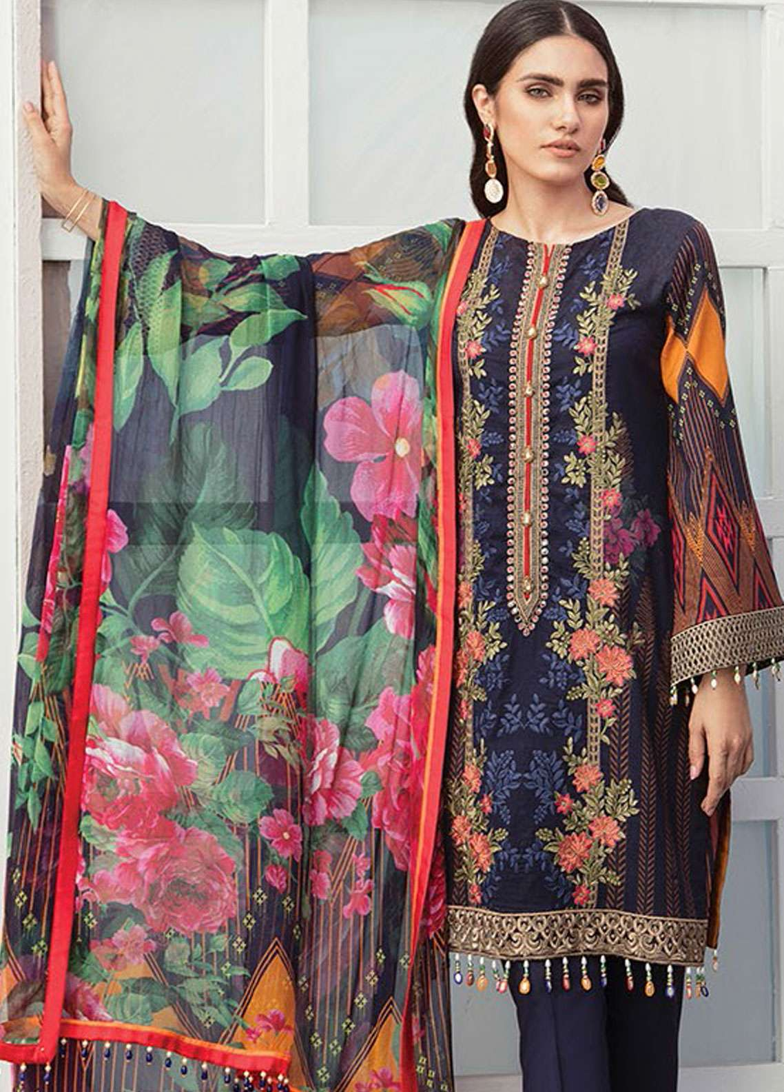 Flossie Embroidered Lawn Unstitched 3 Piece Suit FL19L 02 MODA BELLA - Spring / Summer Collection