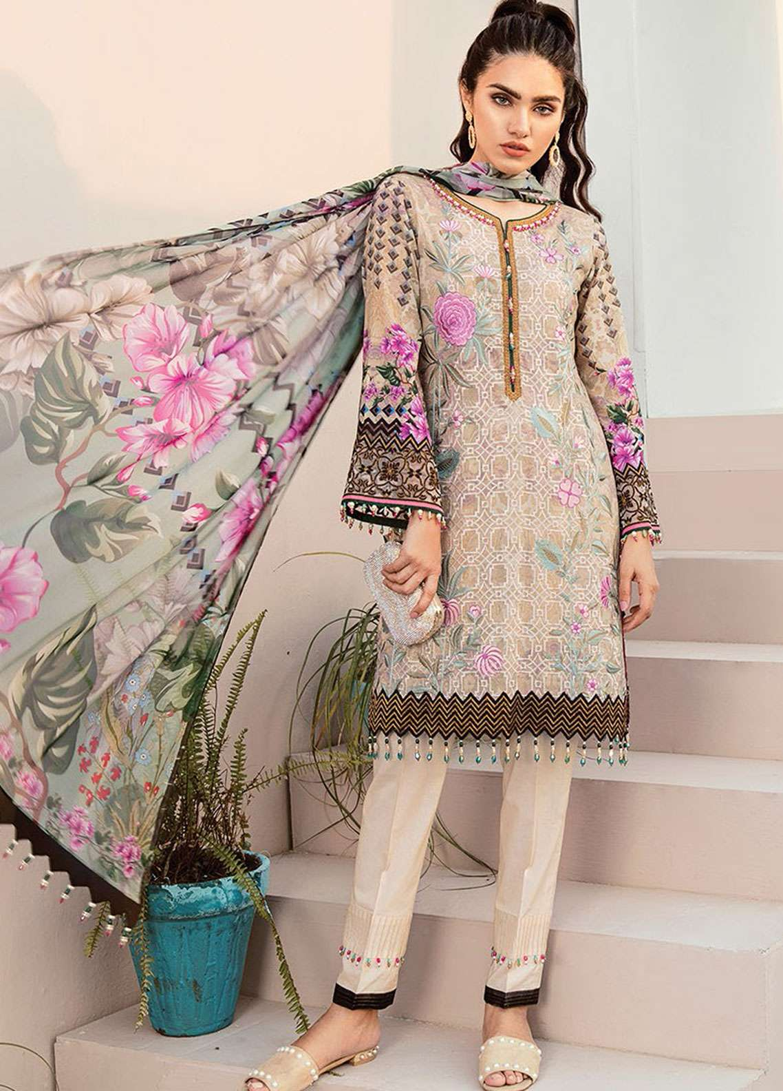 51902a2f6f Flossie Embroidered Lawn Unstitched 3 Piece Suit FL19L 07 MORNING GLORY -  Spring / Summer Collection