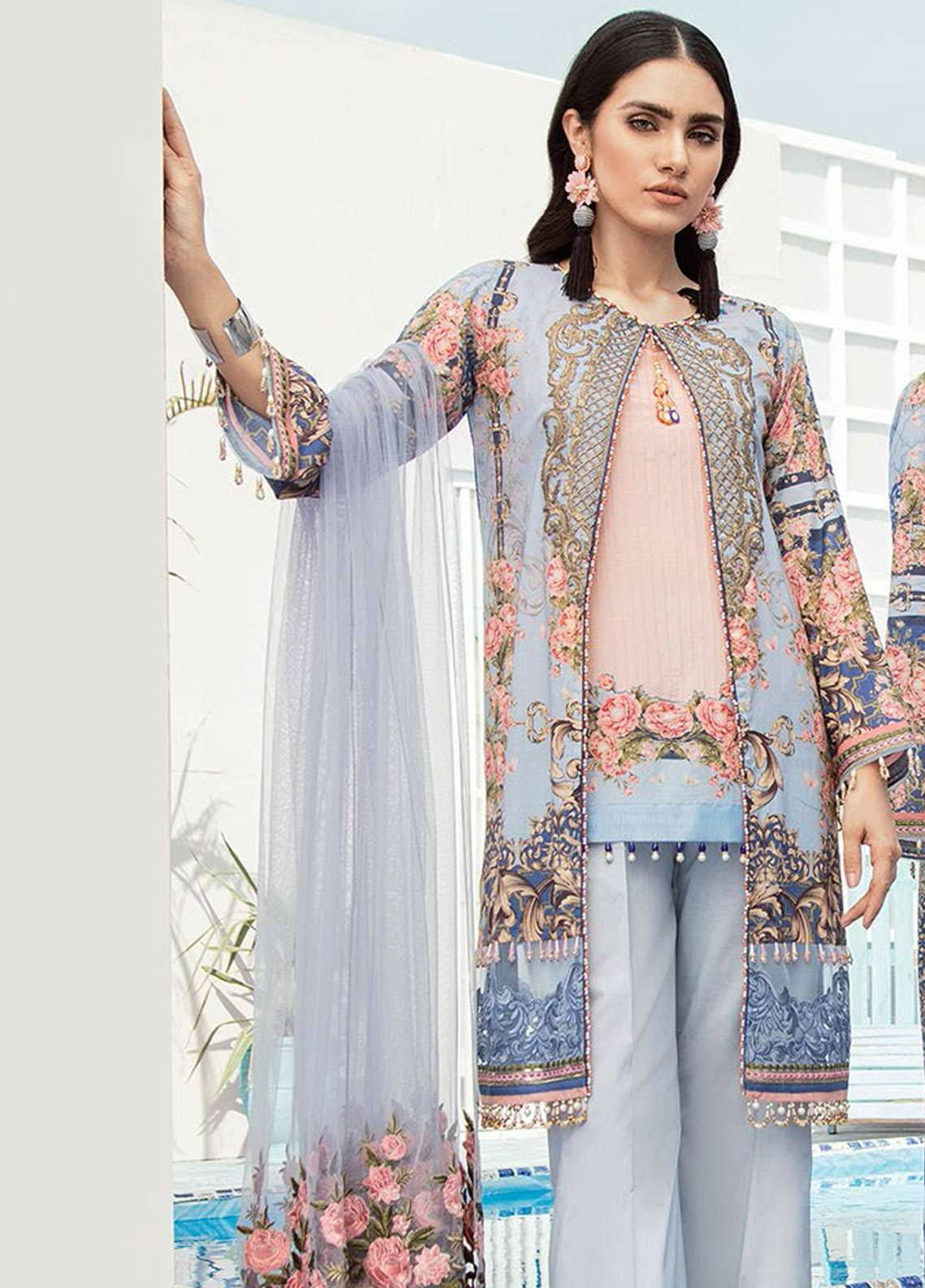Flossie Embroidered Lawn Unstitched 3 Piece Suit FL19L 10 LAVENDER - Spring / Summer Collection