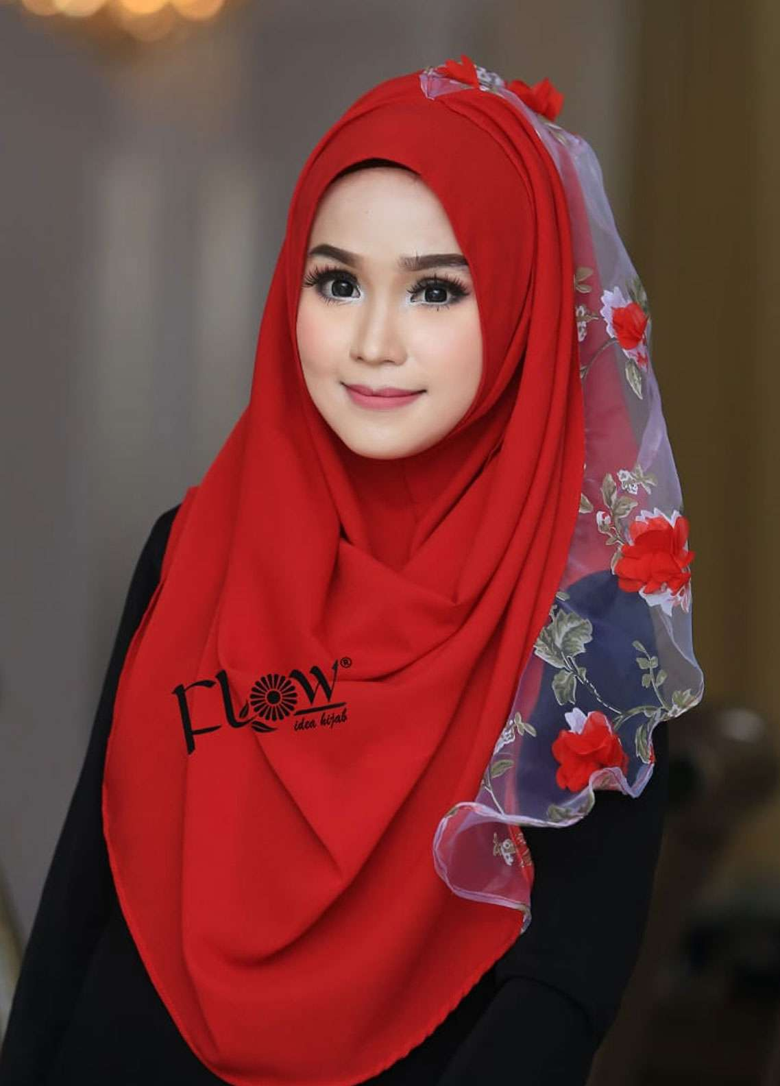 Flow Idea Hijab  Bubble Pop  Ladies Scarves HH Flow Maulina 01 Red