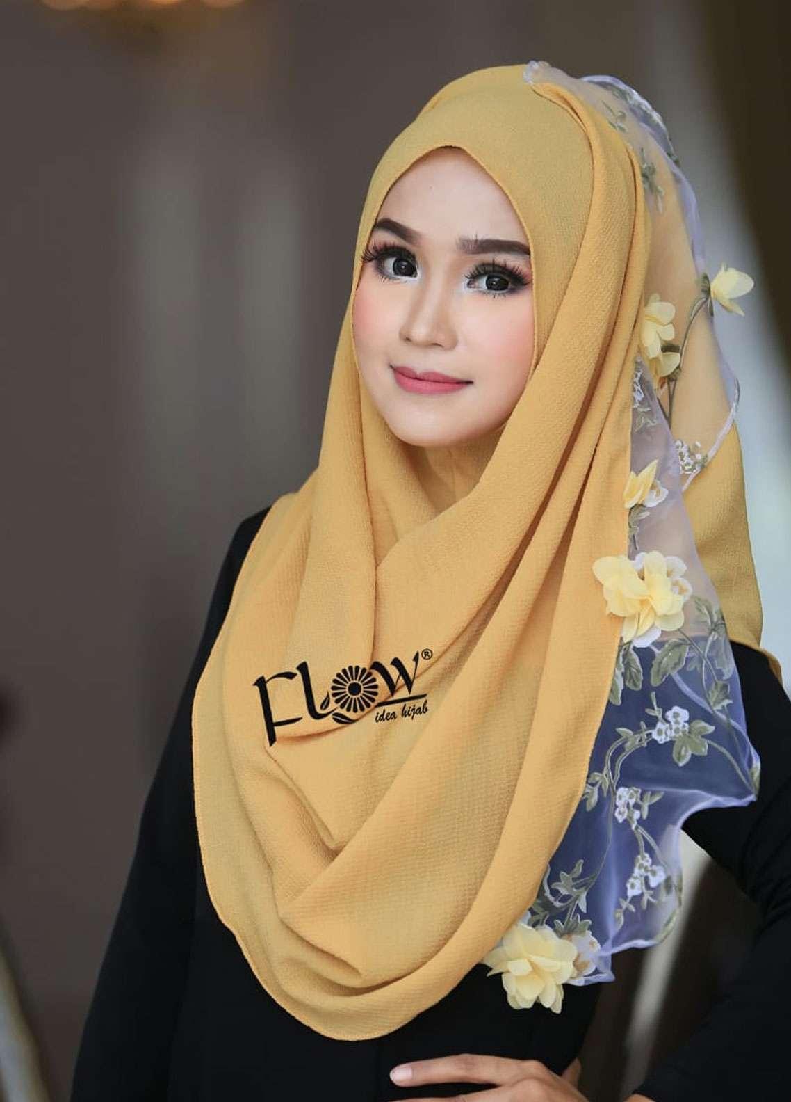 Flow Idea Hijab  Bubble Pop  Ladies Scarves HH Flow Maulina 02 Yellow