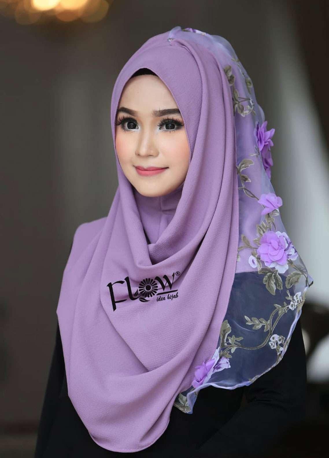 Flow Idea Hijab  Bubble Pop  Ladies Scarves HH Flow Maulina 03 Purple