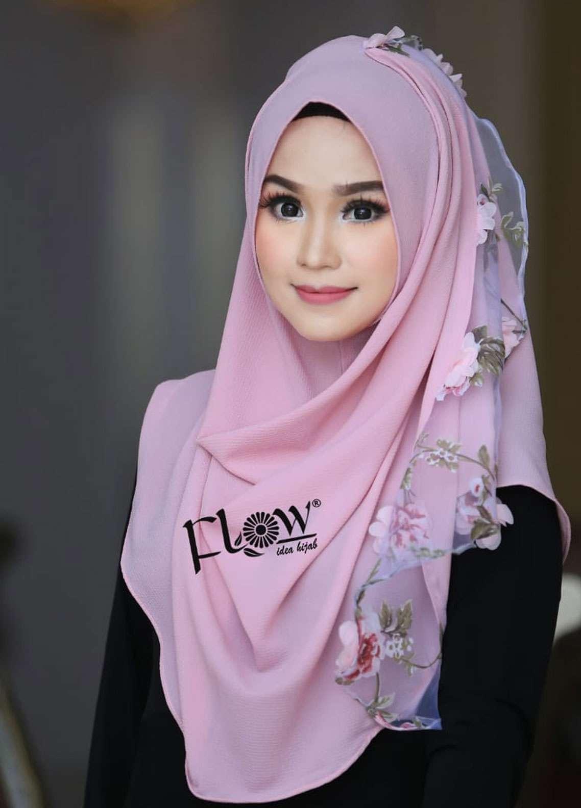 Flow Idea Hijab  Bubble Pop  Ladies Scarves HH Flow Maulina 04 Baby Pink