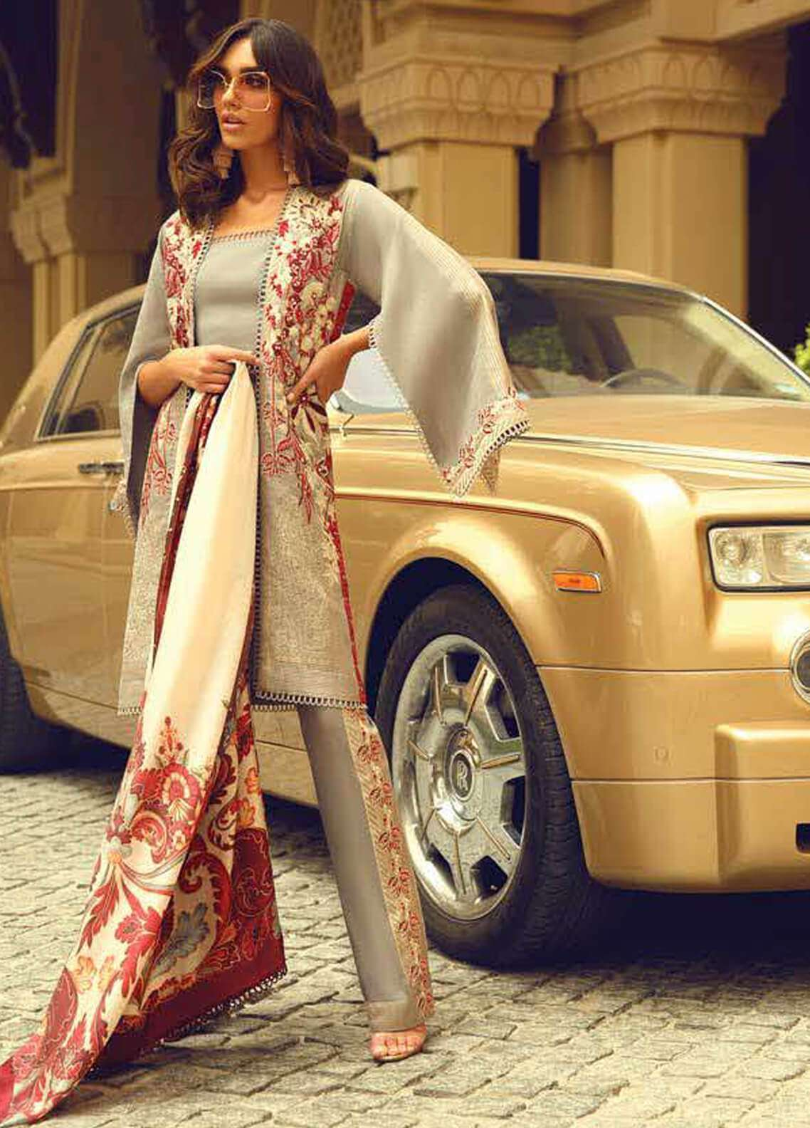Faraz Manan Embroidered Jacquard Unstitched 3 Piece Suit FM18F 01 - Luxury Collection