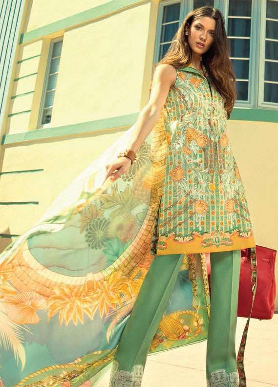 Faraz Manan Embroidered Lawn Unstitched 3 Piece Suit FM18L 15 - Spring / Summer Collection