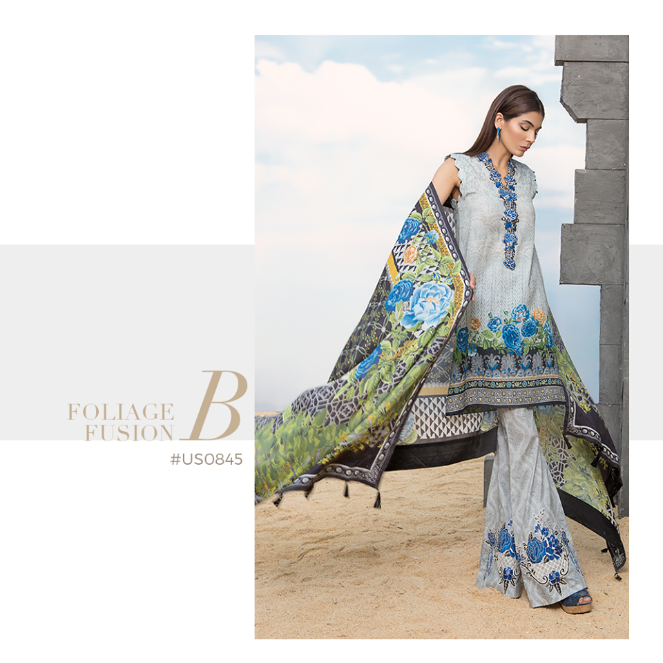 Sapphire Embroidered Khaddar Unstitched 3 Piece Suit SP17W Foliage Fusion B