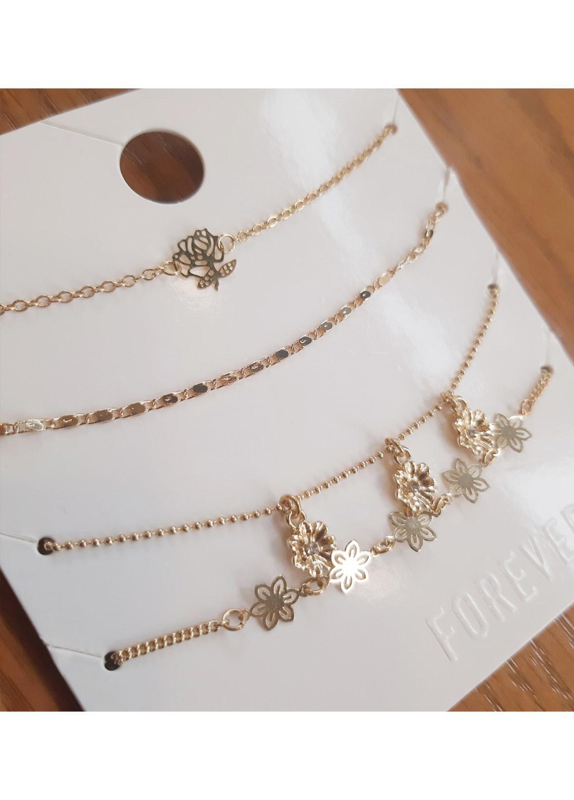 Crystal Floral Charm Bracelet Set  - Ladies Jewellery