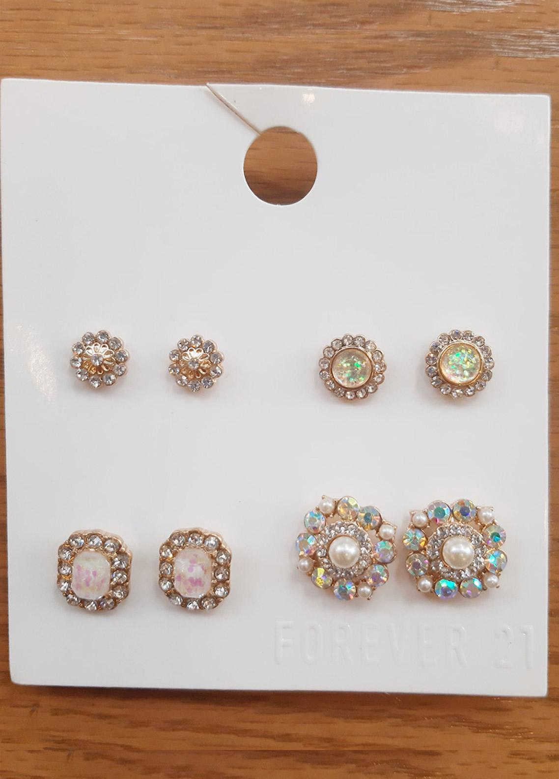 Forever21 Etched & Floral Stud Earring Set  - Ladies Jewellery