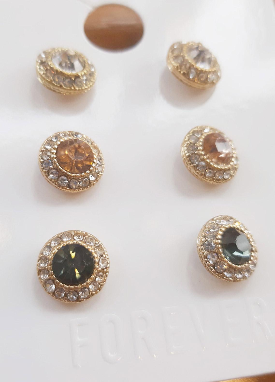 Forever21 Faux Gem Stud Earring Set  - Ladies Jewellery