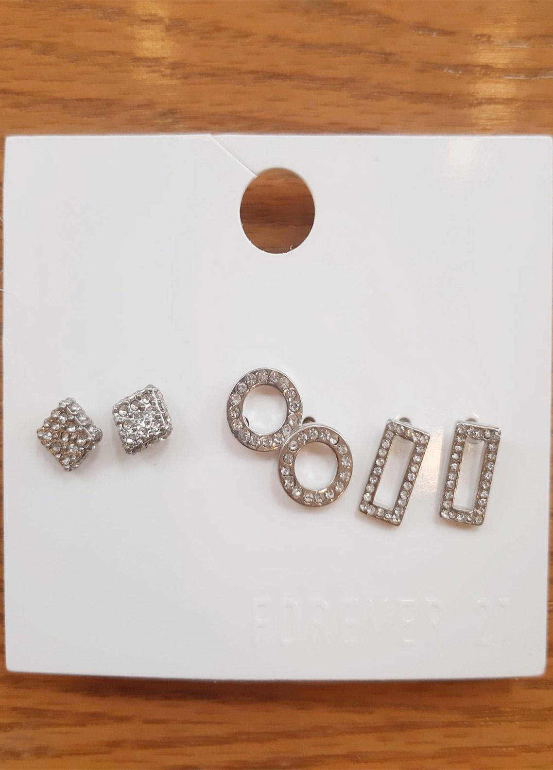 Forever21 Rhinestone Stud Earring Set  - Ladies Jewellery