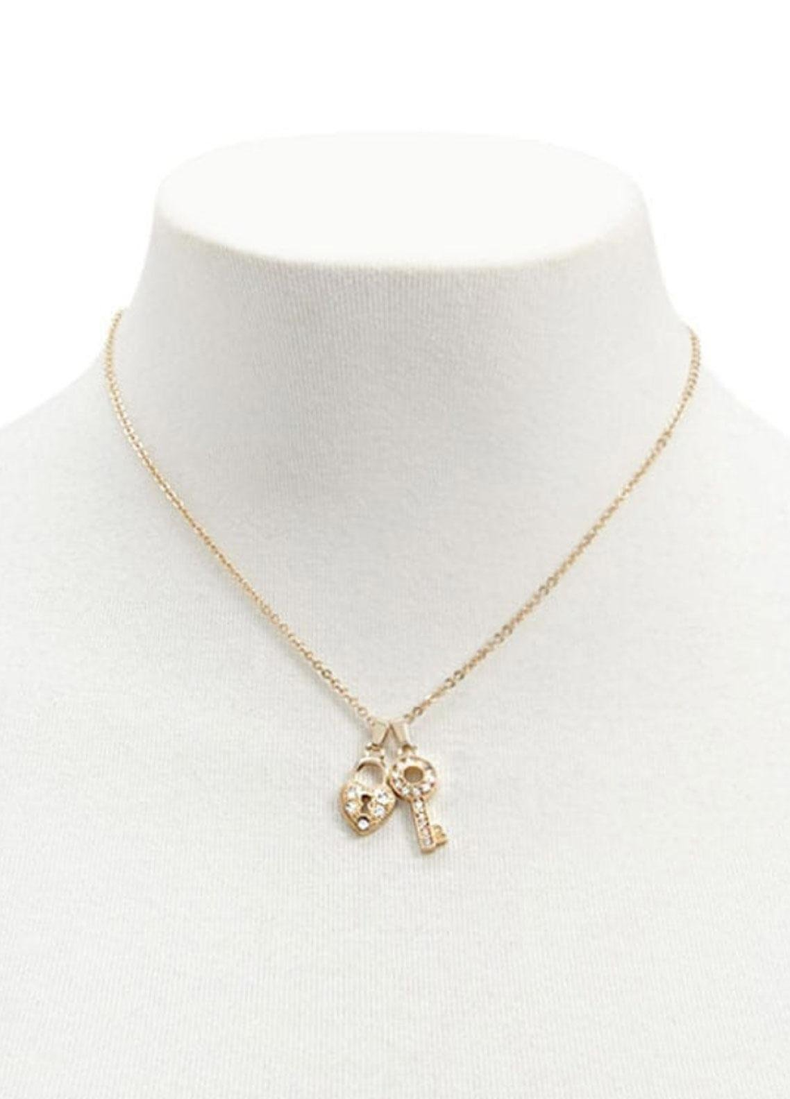 Forever21 Lock & Key Charm Necklace - Ladies Jewellery
