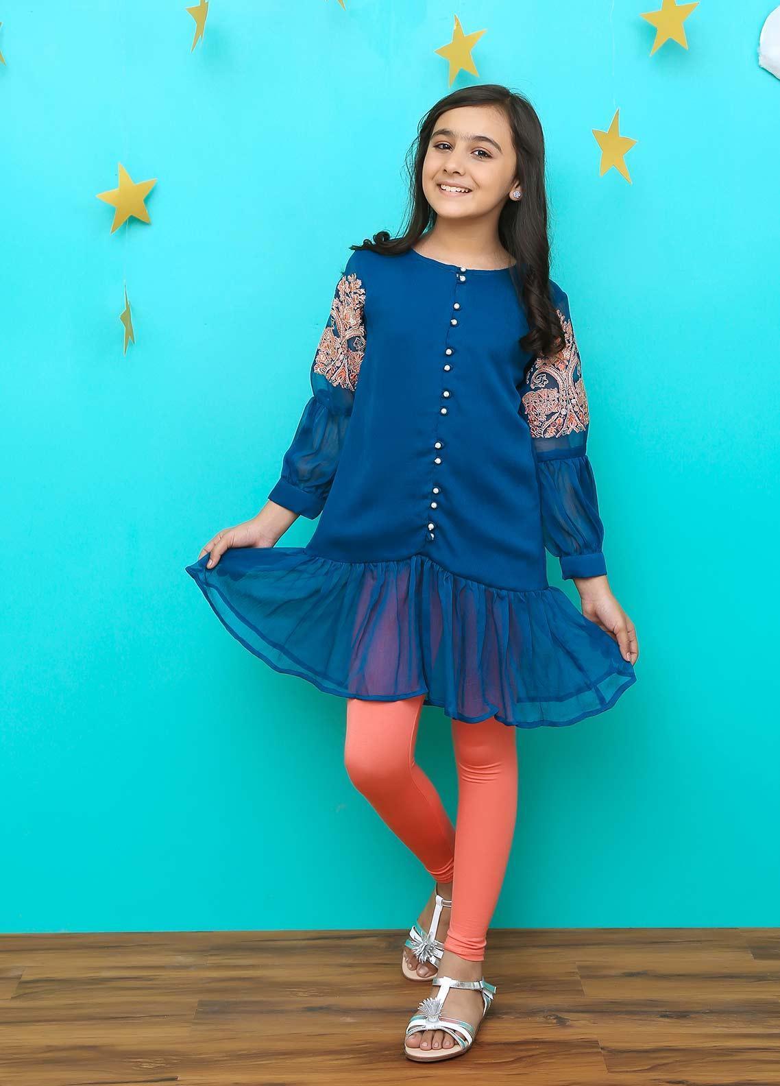 Ochre Chiffon Formal Kurtis for Girls - 629 Teal Blue