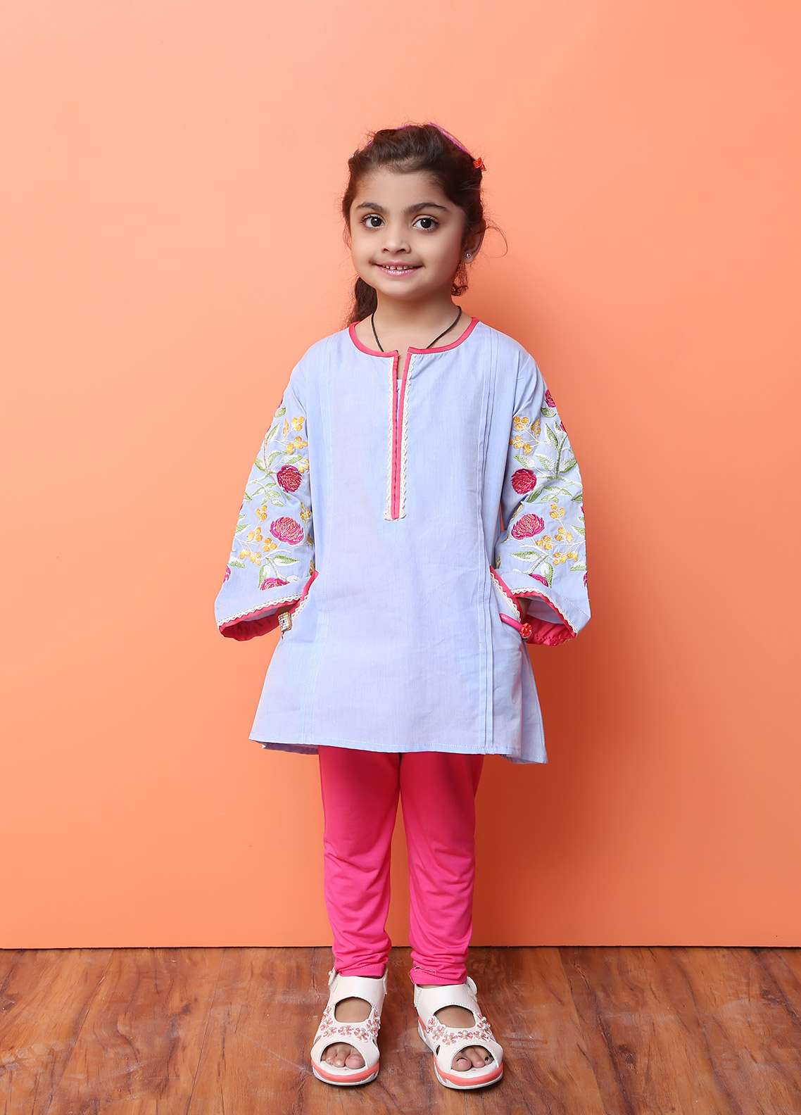 Ochre Cotton Formal Kurtis for Girls -  OFK 601 Light Blue