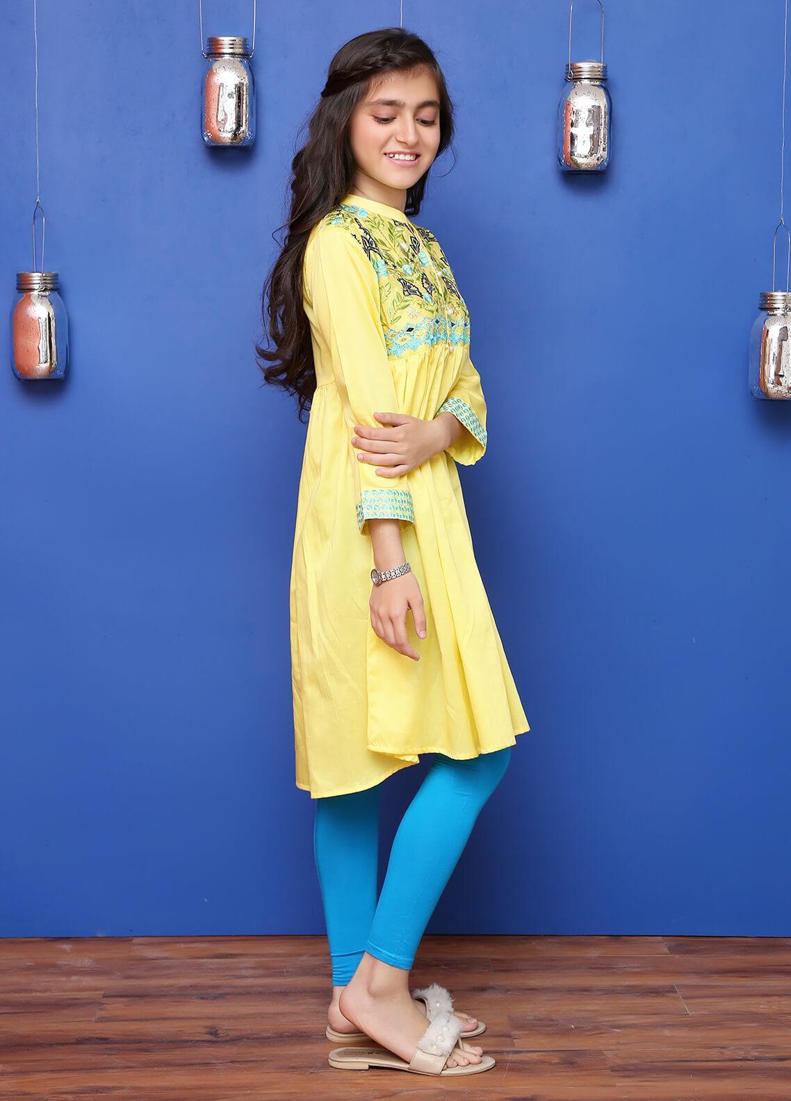 Ochre Cotton Formal Kurtis for Girls -  OFK 615 Yellow