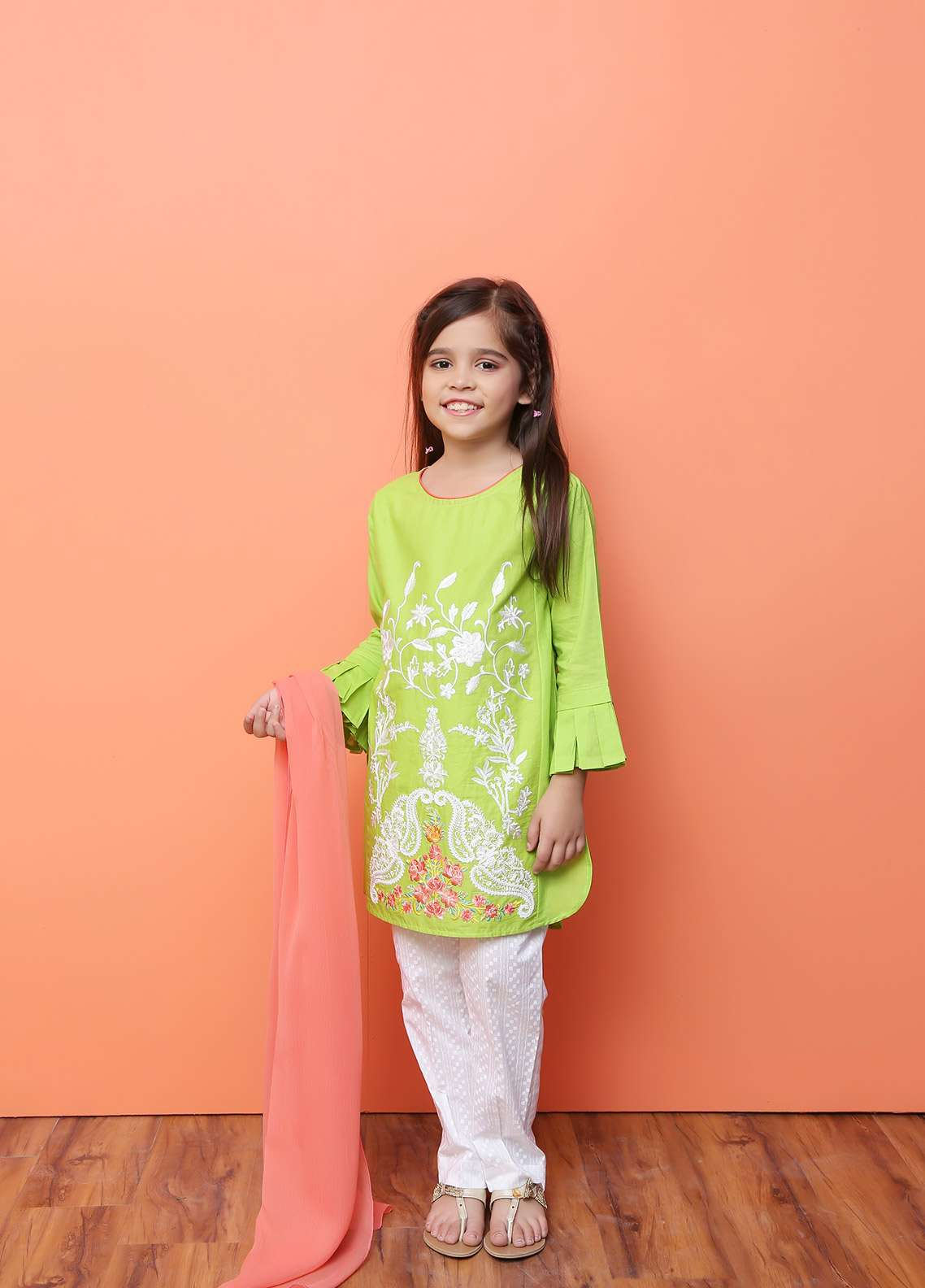 Ochre Cotton Formal 3 Piece Suit for Girls -  OFK 618 Lime Green