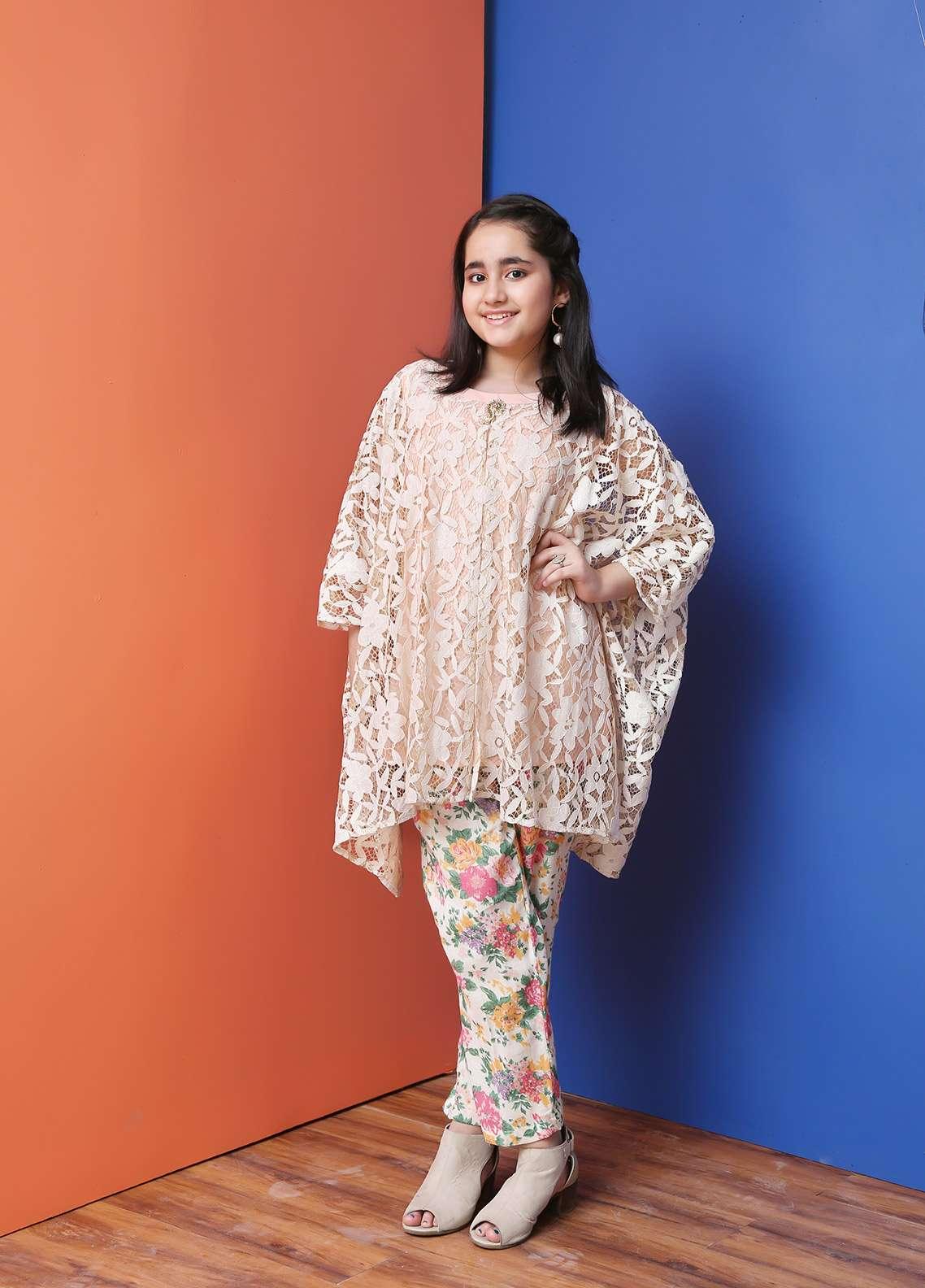 Ochre Cotton Net Formal Girls 2 Piece Suit -  OFK 619 Beige