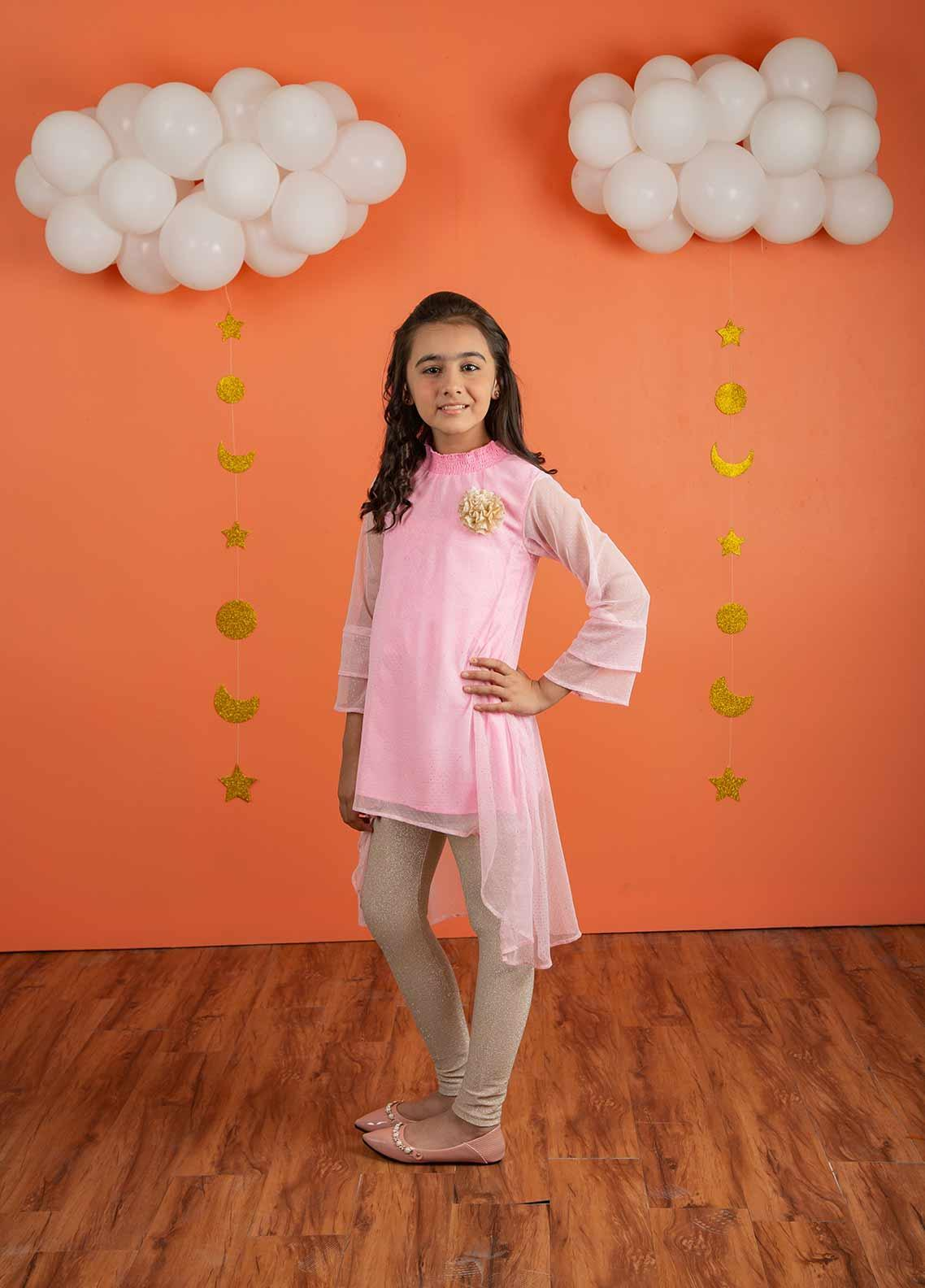 Ochre Zari Net Formal Girls Kurtis - OFK 627 Light Pink