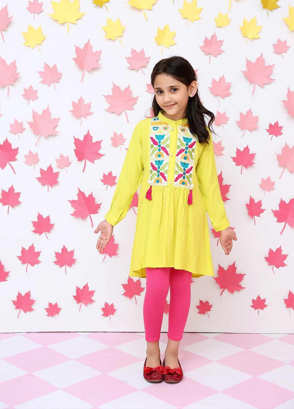 Ochre Cotton Formal Kurtis for Girls - OFK 638 Yellow