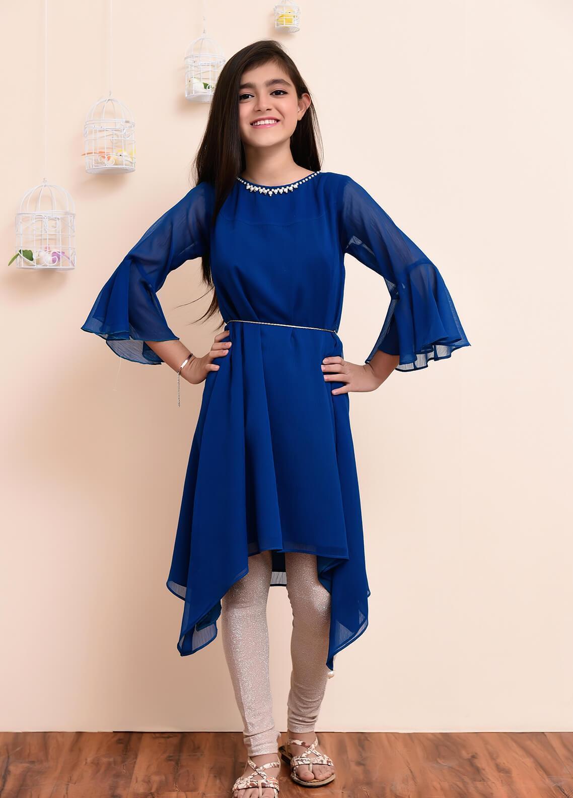 Ochre Chiffon Formal Girls Kurtis -  OFW 163 Teal Blue