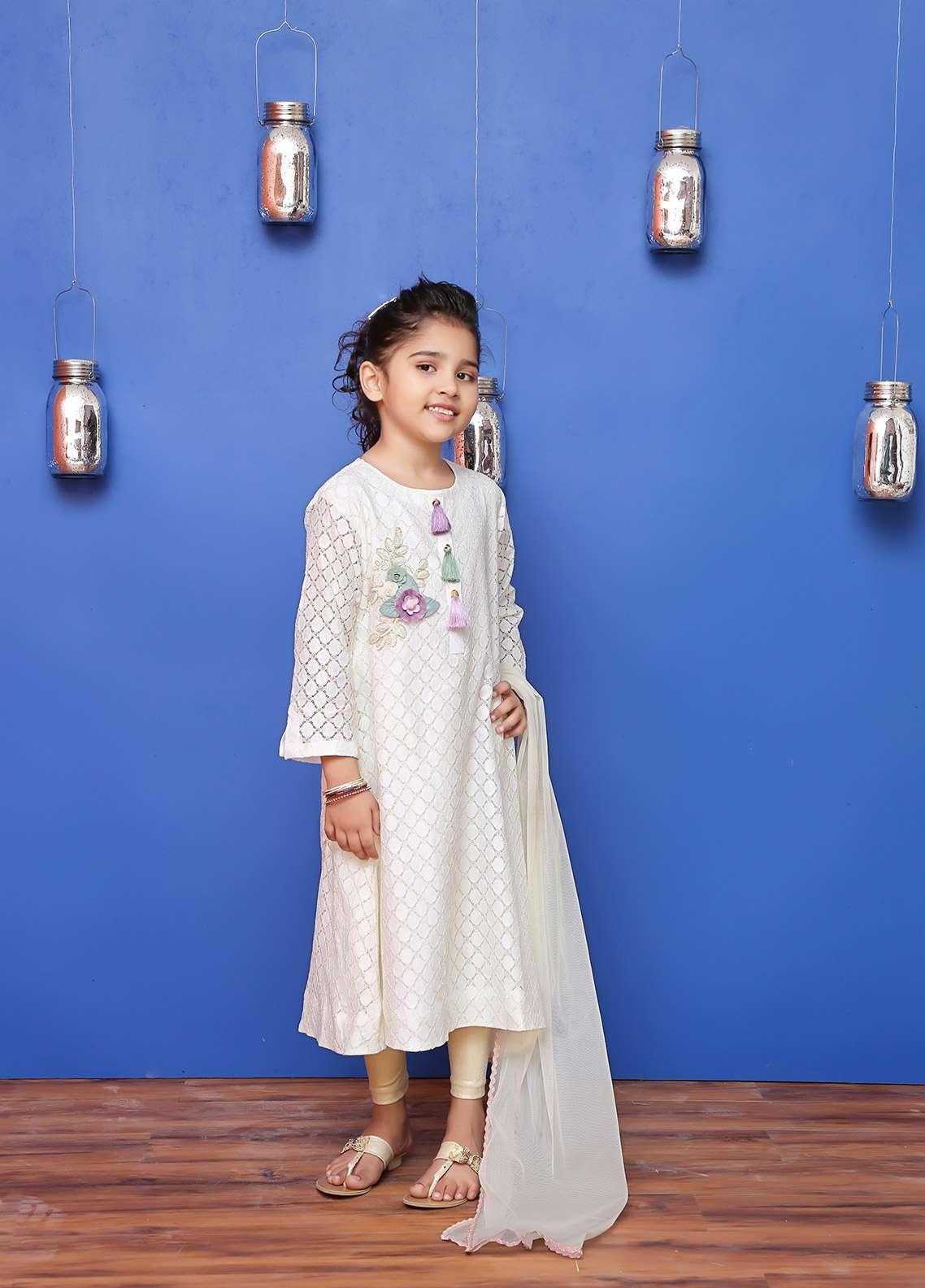 Ochre Cotton Net Formal Girls 2 Piece Suit -  OFW 168 Off White