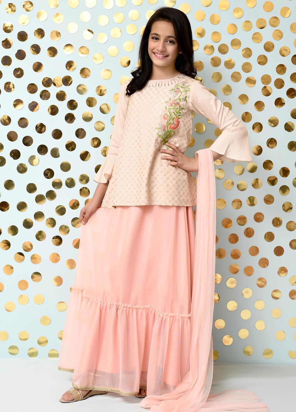 Ochre Cotton Silk Formal Girls 3 Piece Suit -  OFW 170 Beige