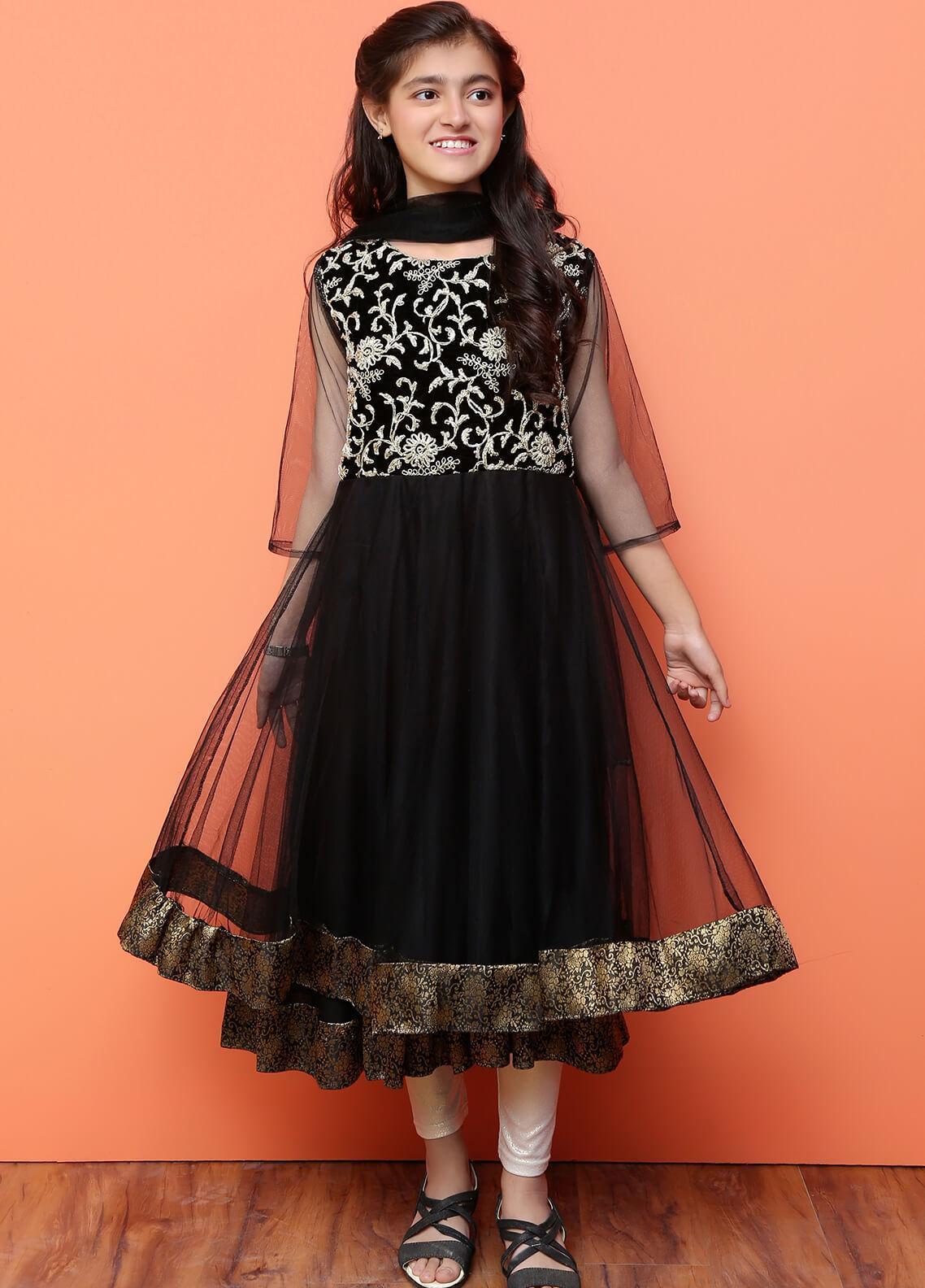 Ochre Velvet Formal 3 Piece Suit for Girls -  OFW 172 Black
