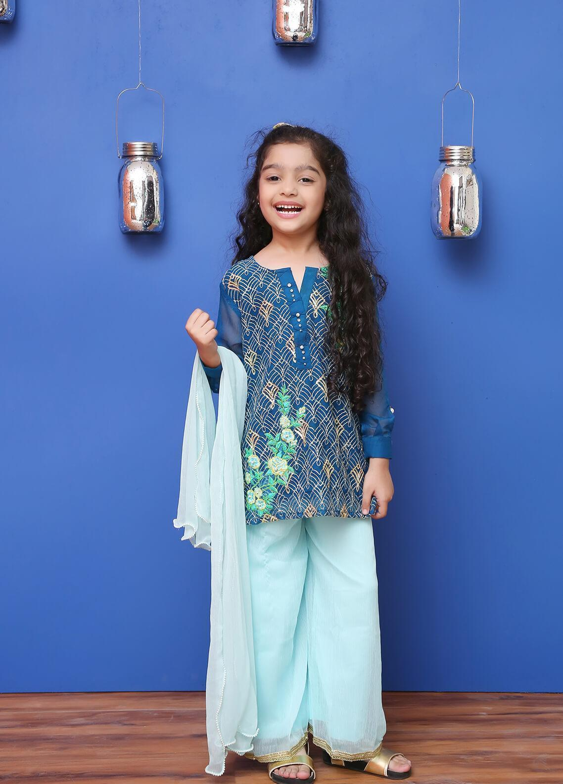 Ochre Chiffon Formal 3 Piece Suit for Girls -  OFW 177 Teal Blue