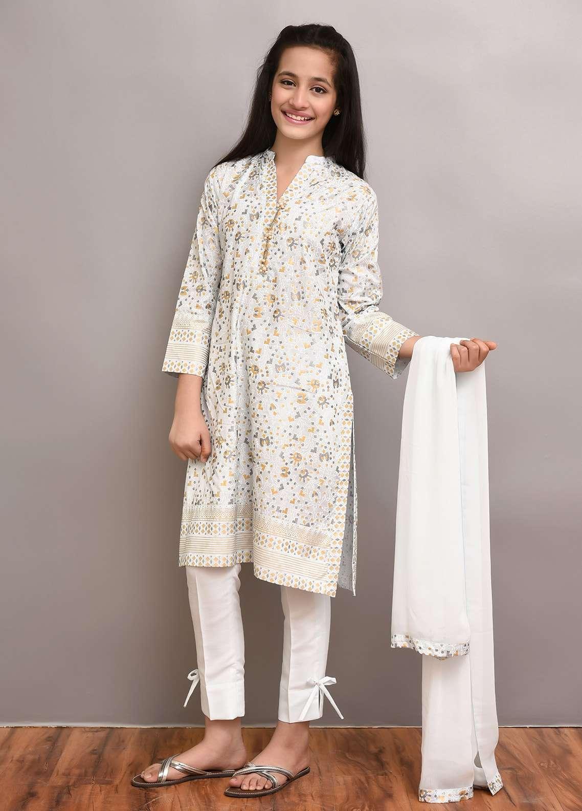 Ochre Cotton Silk Formal Girls 3 Piece Suit -  OFW 179 Sky Blue