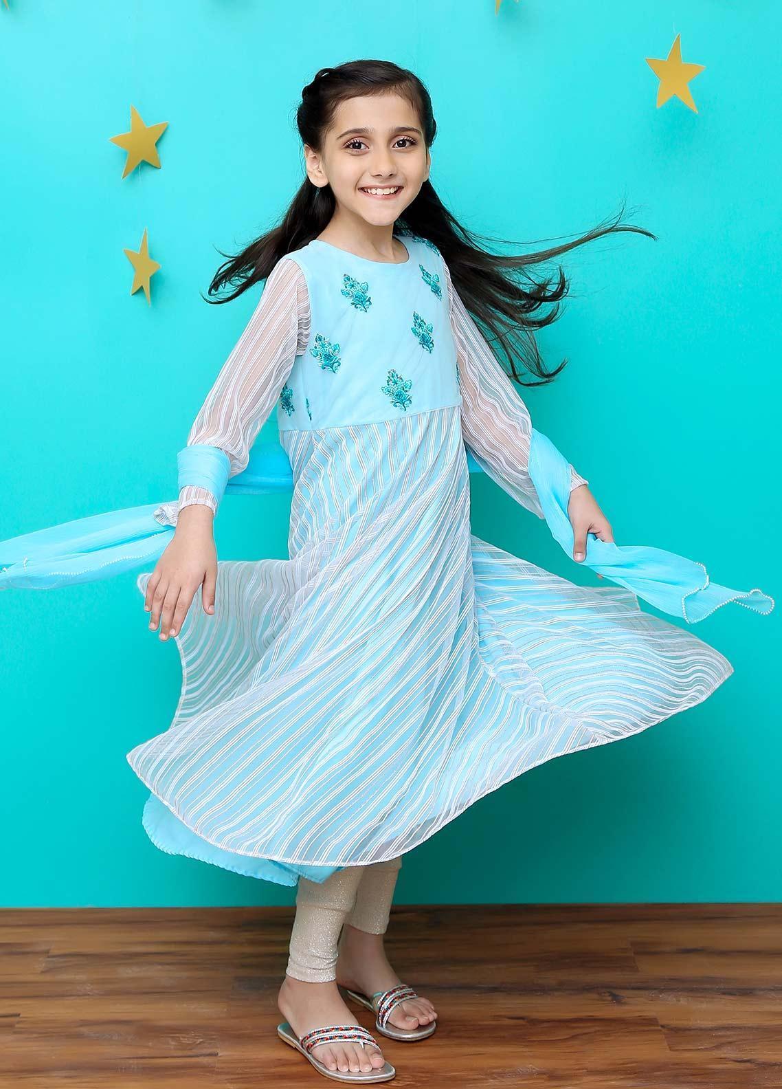 Ochre Zari Net Formal 2 Piece Suit for Girls - OFW 205 Sky Blue