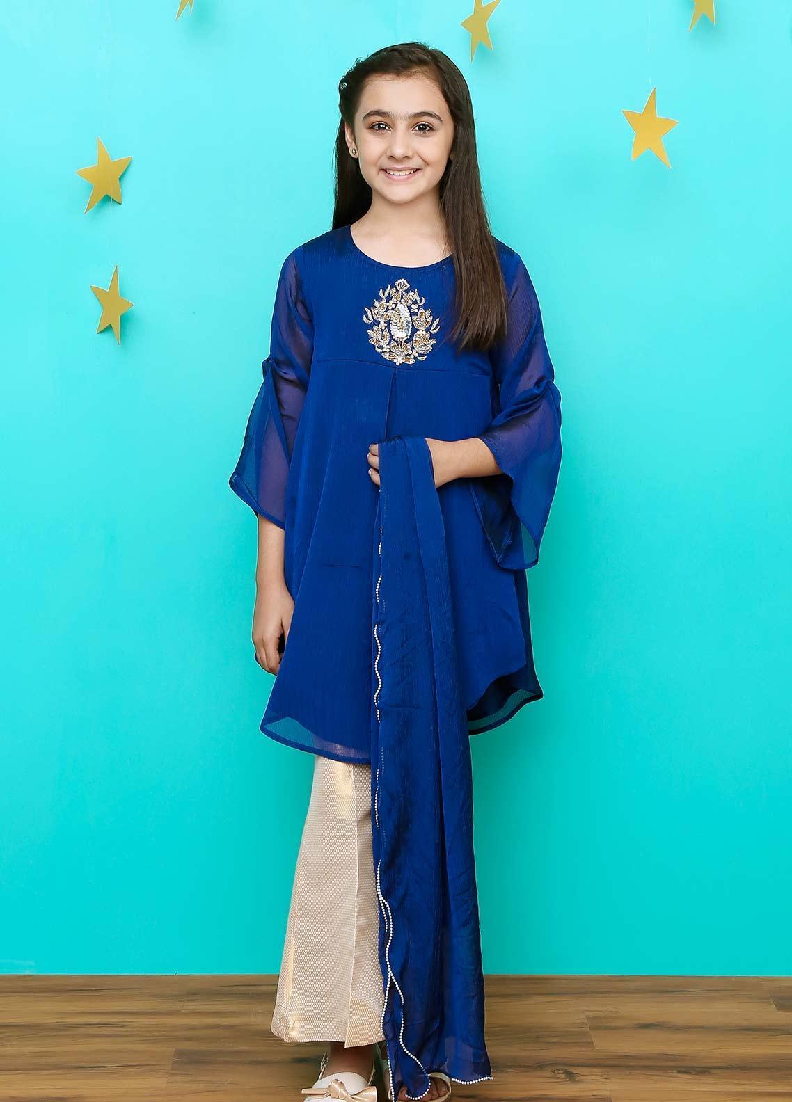 Ochre Chiffon Formal Girls 3 Piece Suit - OFW 208 Royal Blue
