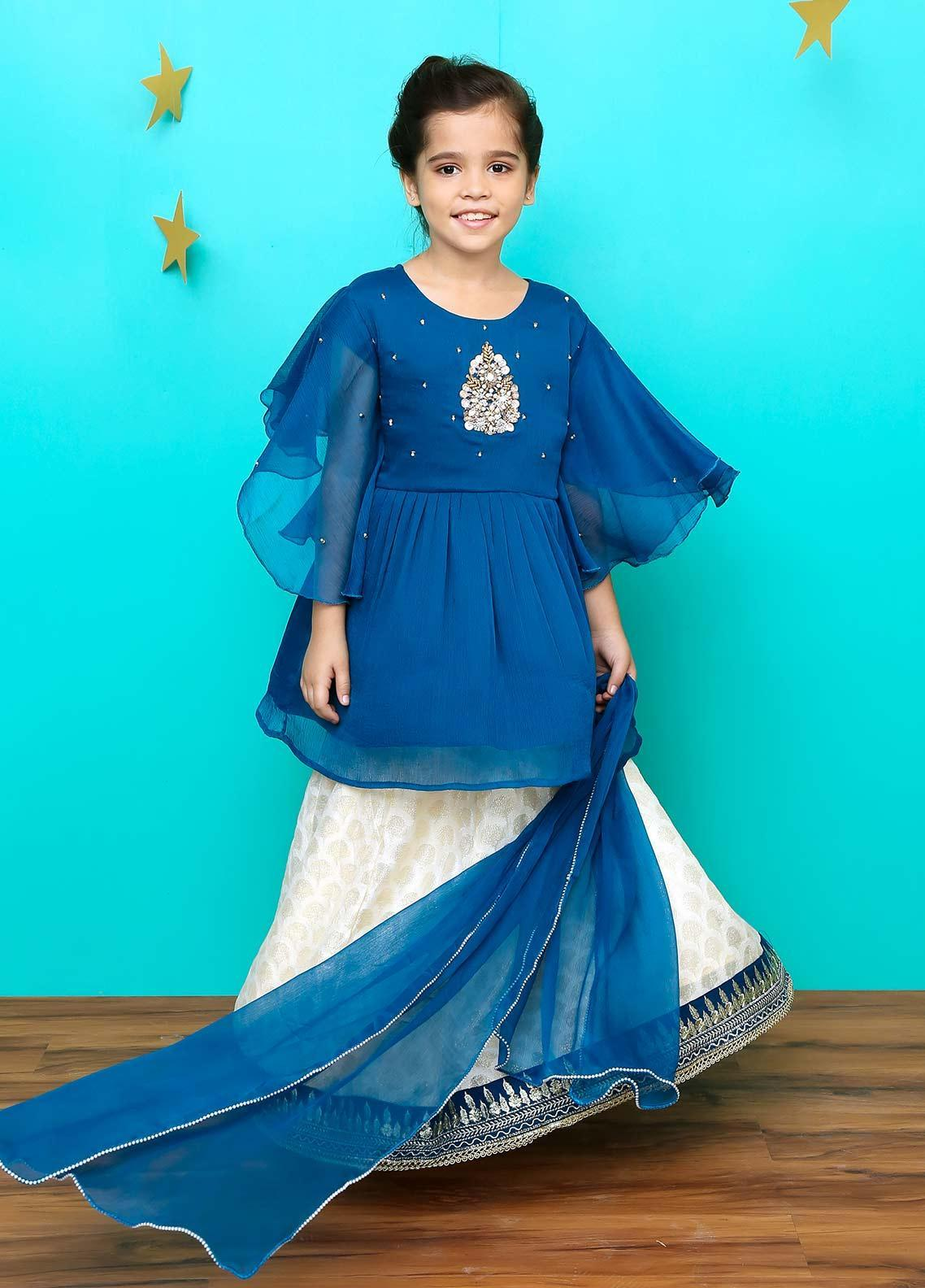 Ochre Chiffon Formal 3 Piece Suit for Girls - OFW 209 Teal Blue