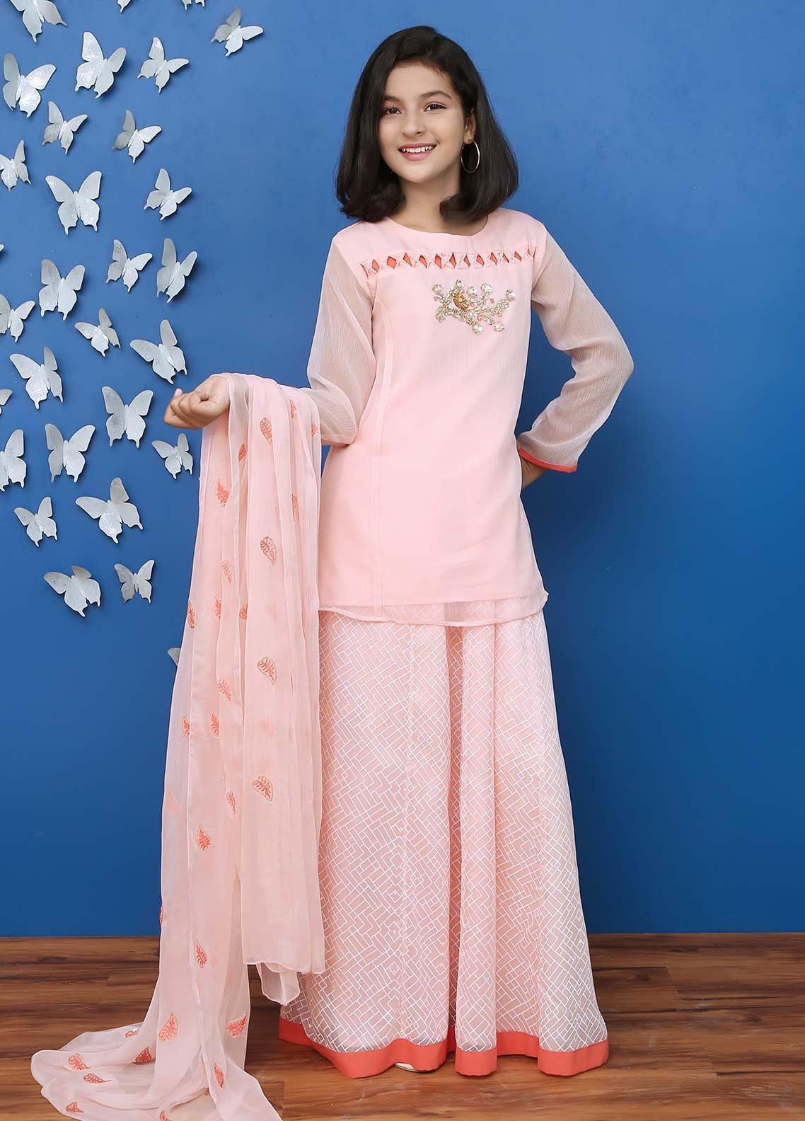 Ochre Chiffon Formal Girls 3 Piece Suit - OFW 214 Pink
