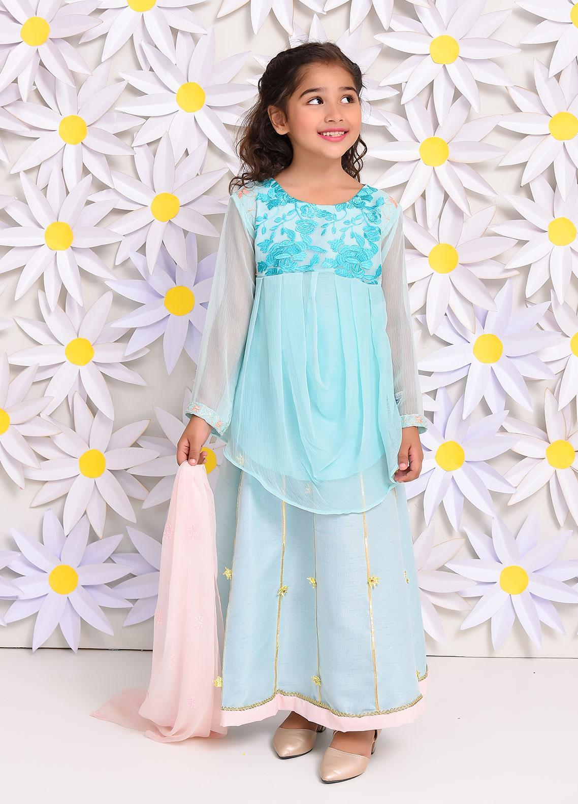 Ochre Chiffon Embroidered Formal 3 Piece Suit for Girls -  OFW 222 Sea Green