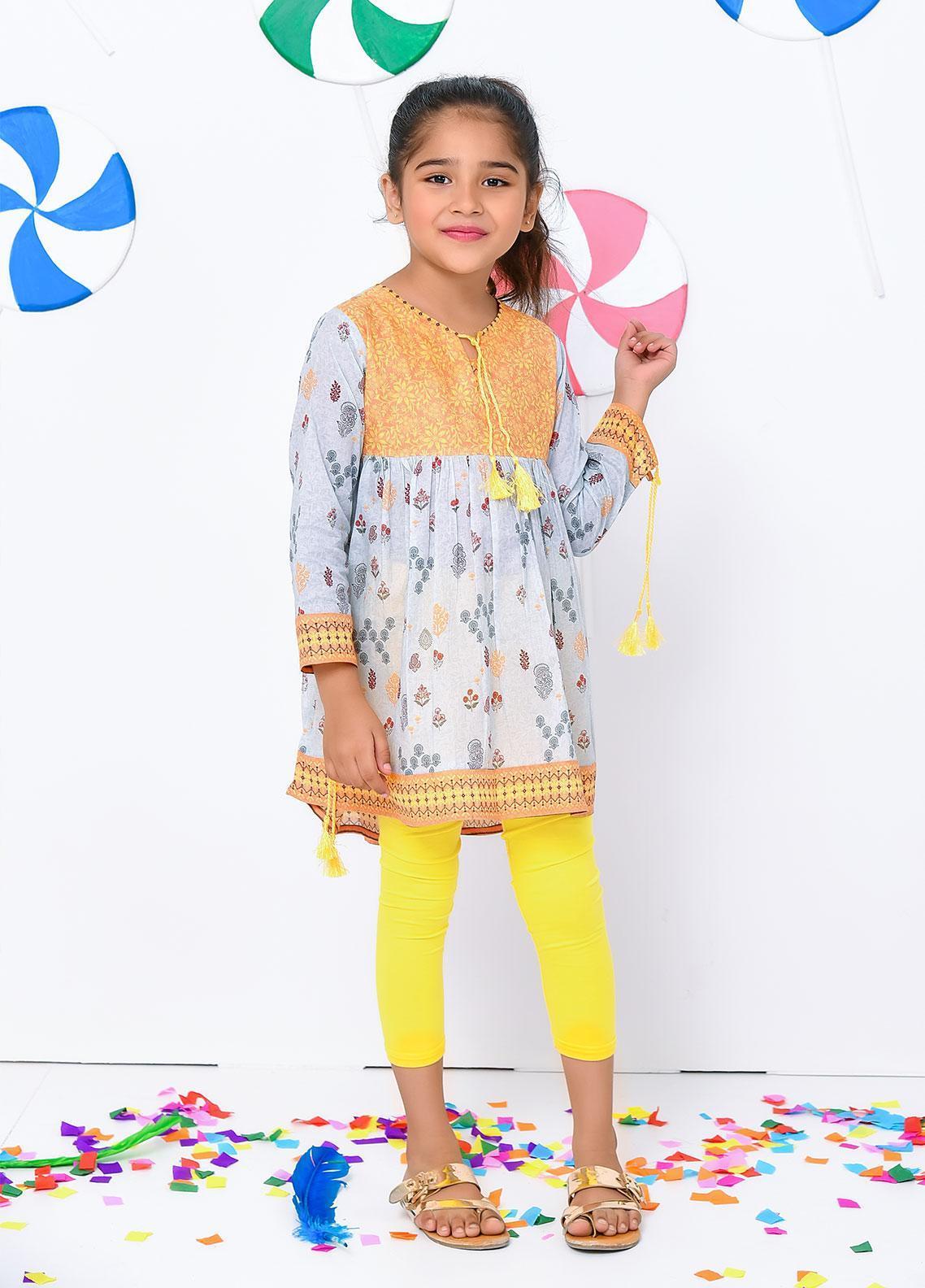Ochre Lawn Embellished Formal Girls Kurtis -  OPL 40 Yellow