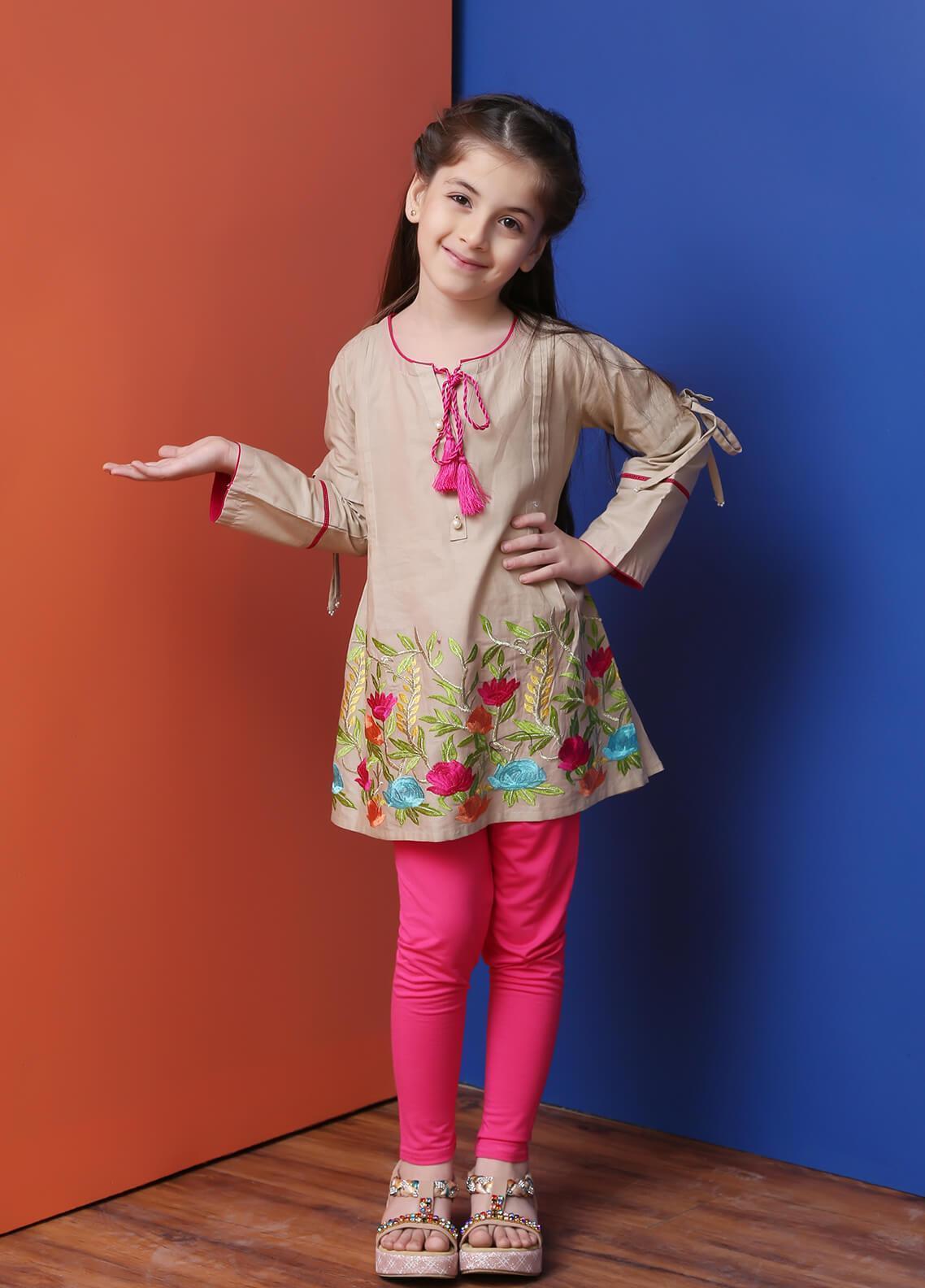 Ochre Cotton Formal Kurtis for Girls -  OWT 264 Beige