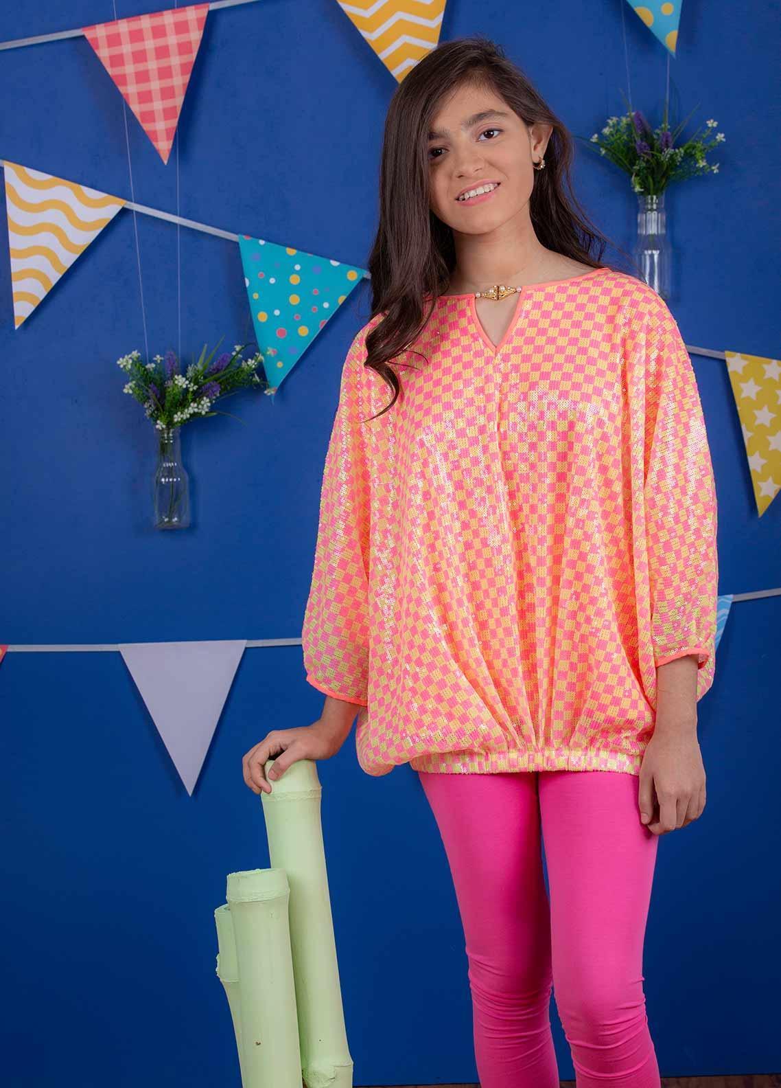 Ochre Cotton Net Formal Girls Kurtis - OWT 272 Candy Pink