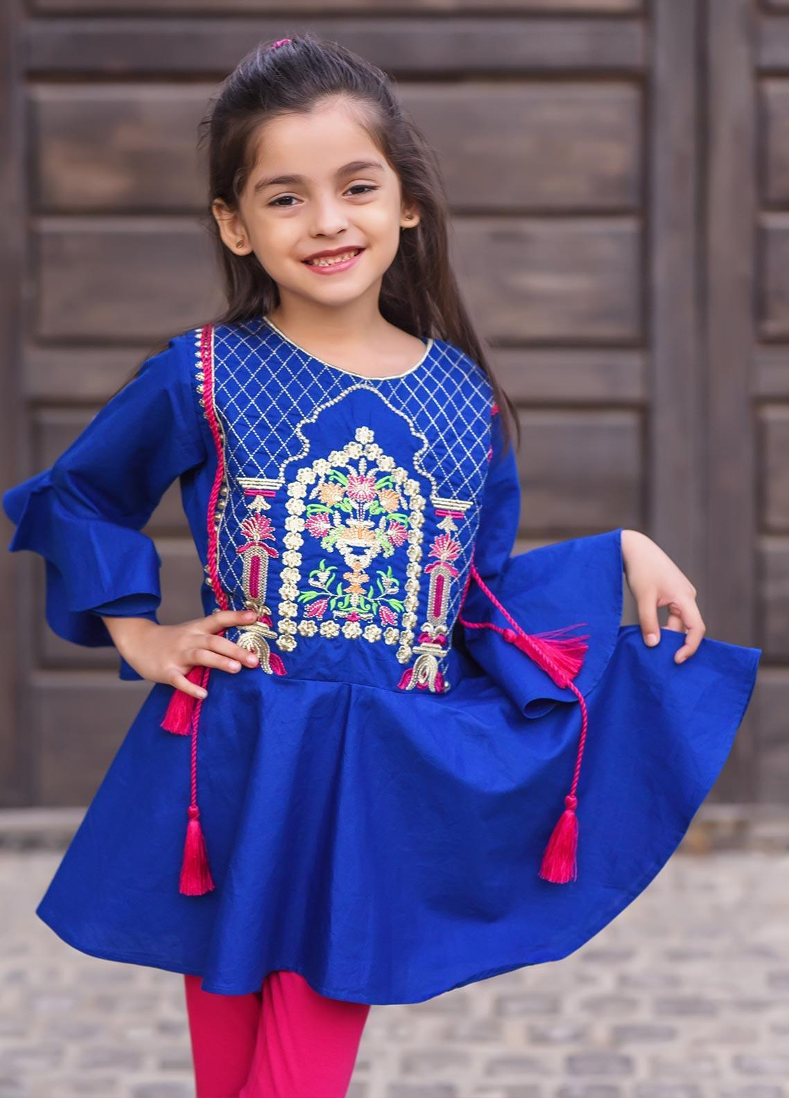 Ochre Cotton Formal Kurti for Girls -  OFK 625 Royal Blue