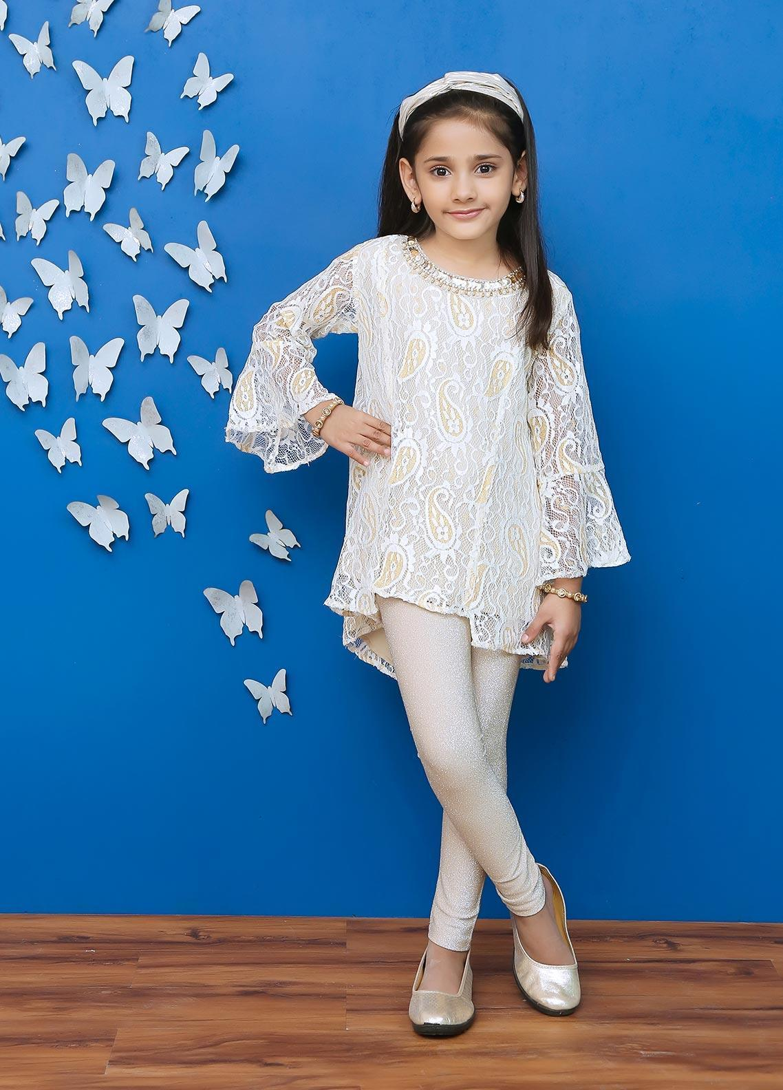 Ochre Cotton Formal Kurti for Girls -  OFK 643 Beige