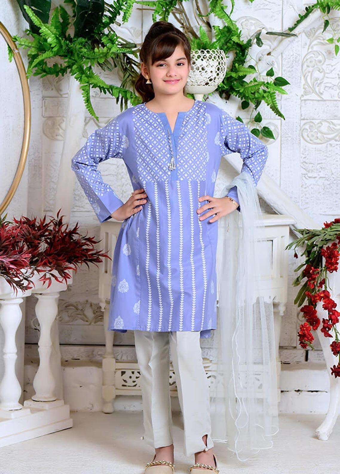 Ochre Cotton Formal 3 Piece Suit for Girls -  OFK 702 Light Blue