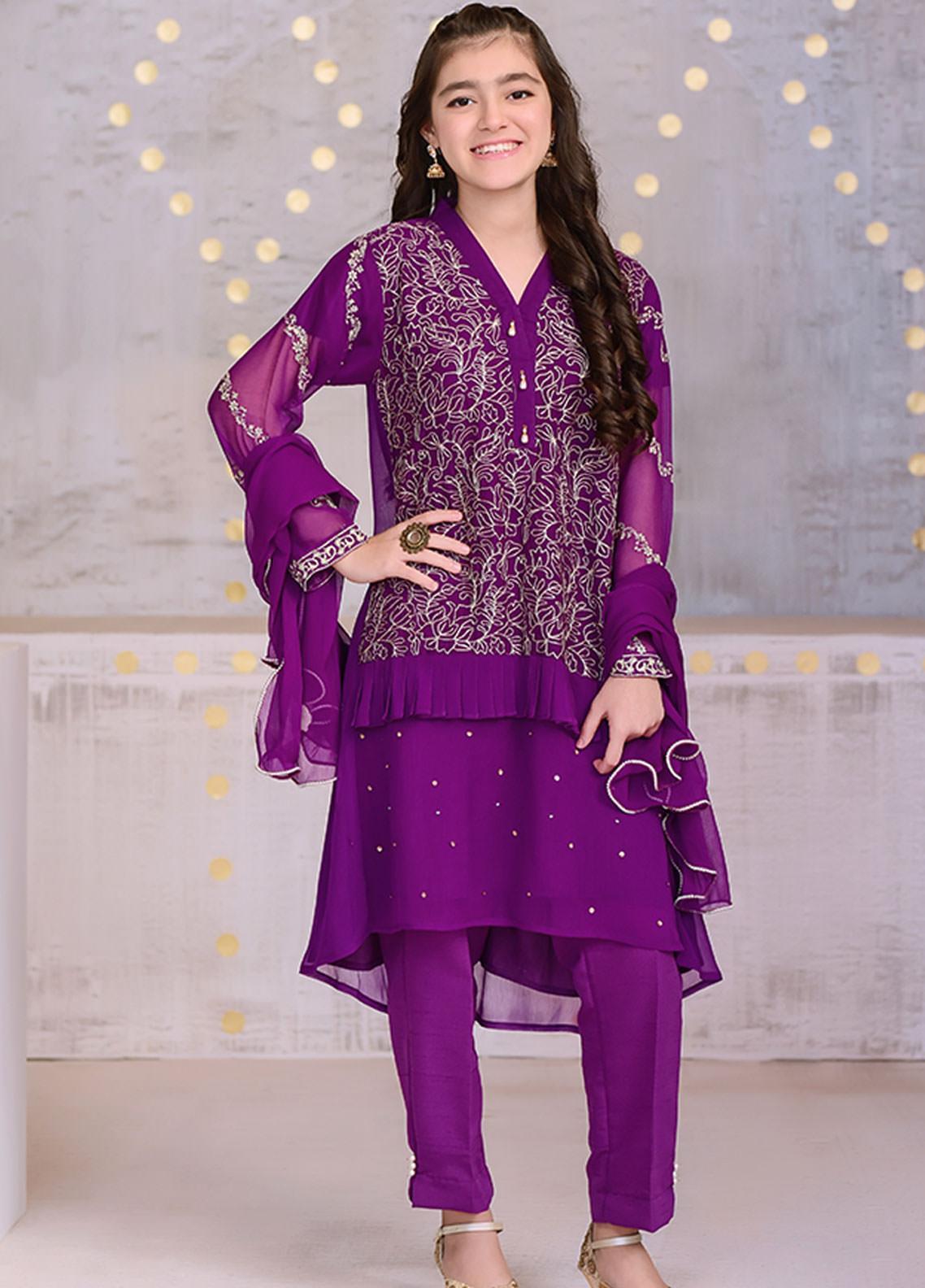 Ochre Chiffon Formal 3 Piece Suit for Girls -  OFW 263 Purple