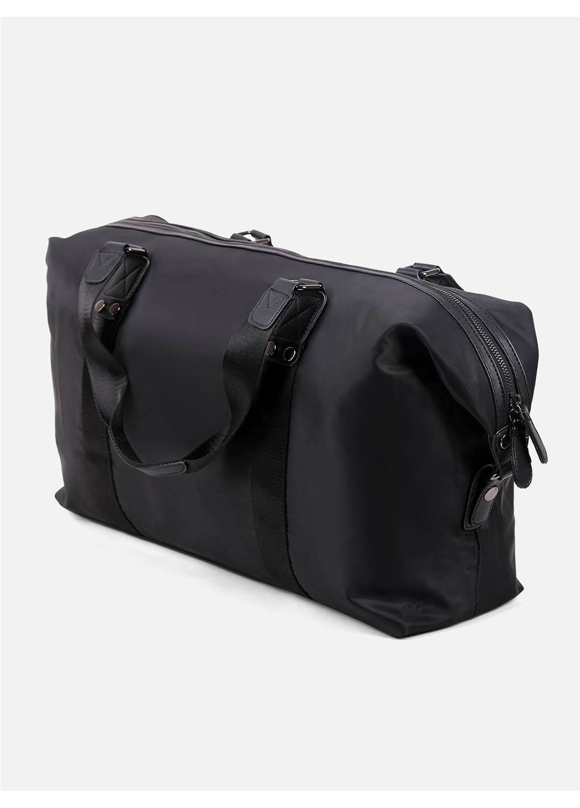 Furor Synthetic Boston Bags for Unisex - Black with Plain Texture
